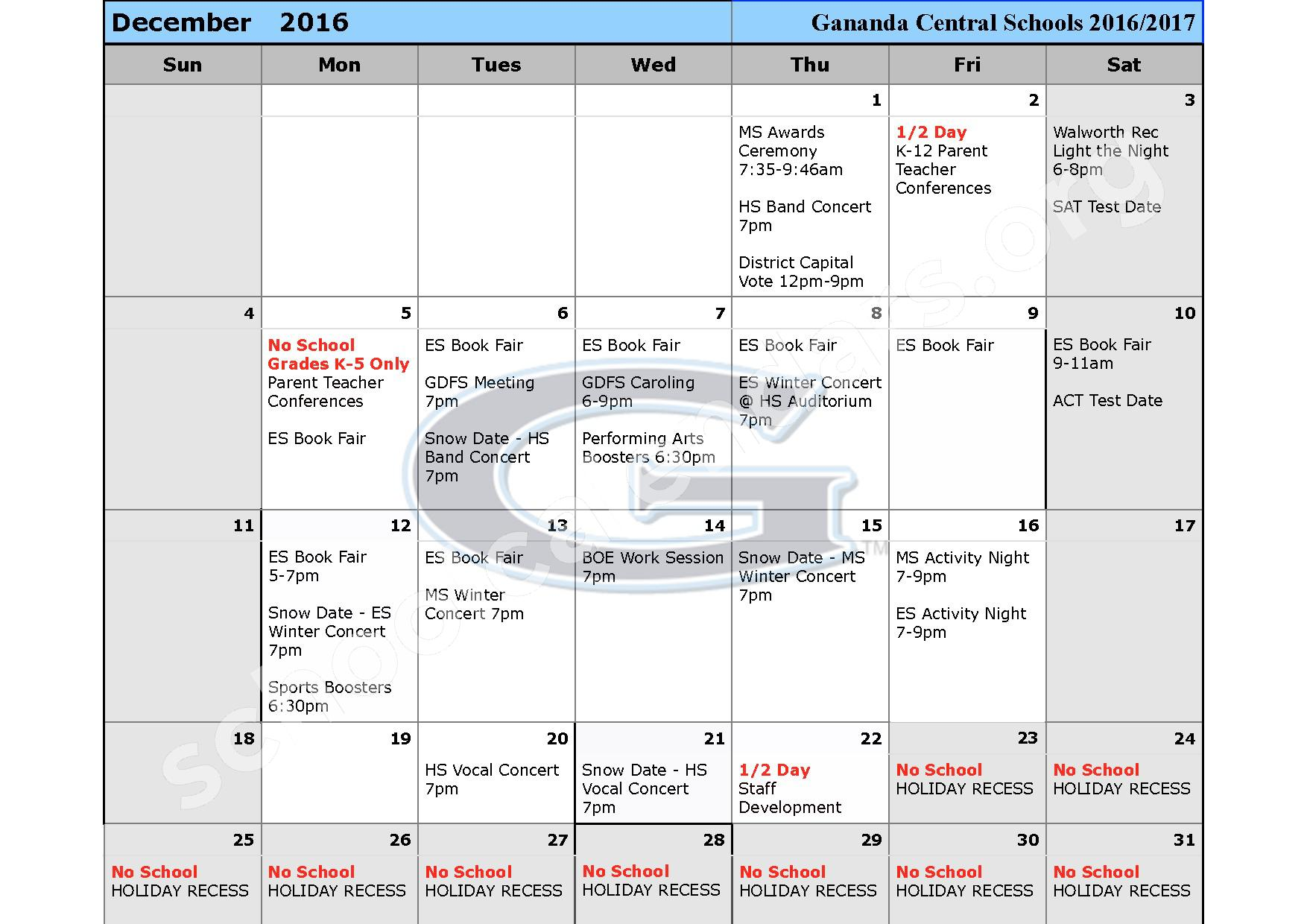 2016 - 2017 School Calendar – Ruben A Cirillo High School – page 5