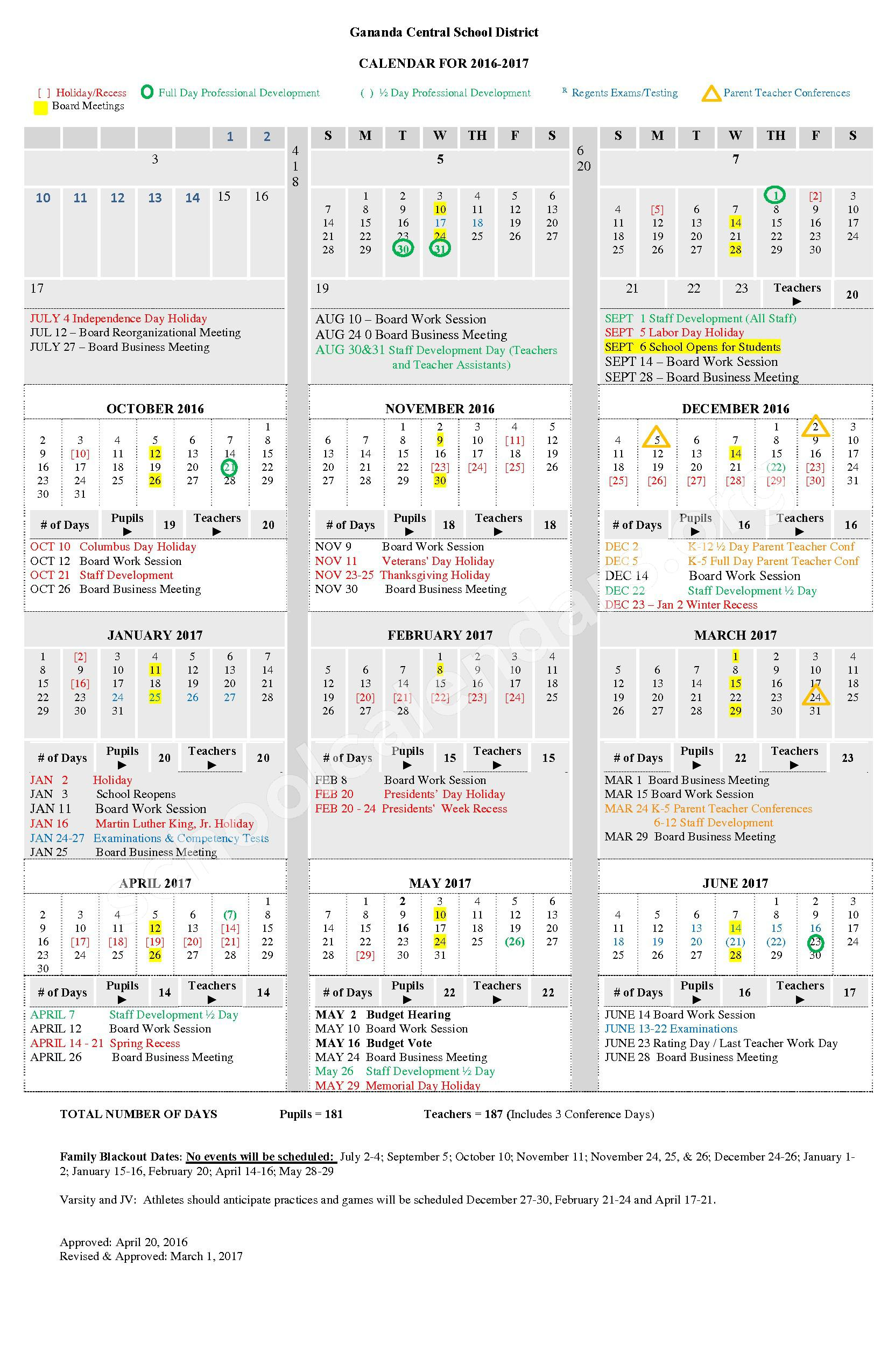 2016 - 2017 School Calendar – Ruben A Cirillo High School – page 1