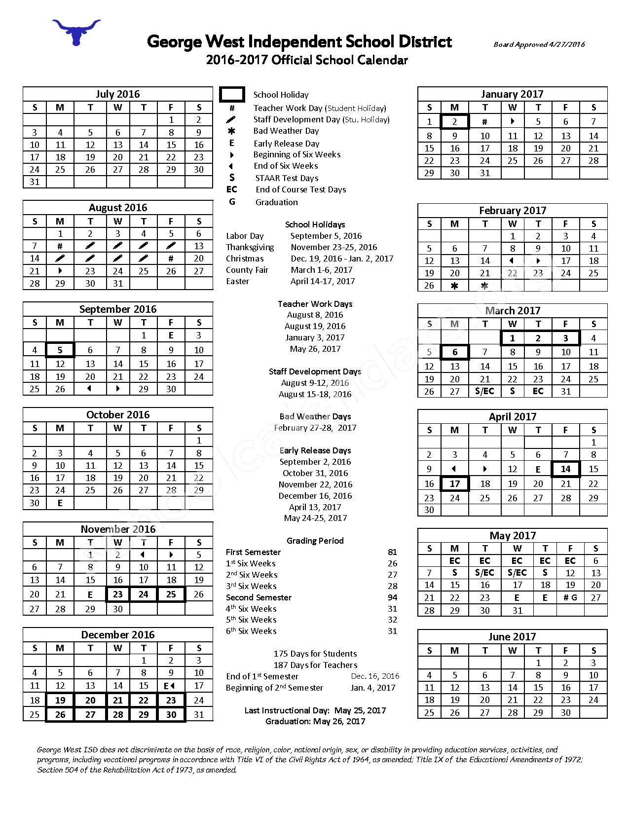 2016 - 2017 School Calendar – George West Independent School District – page 1