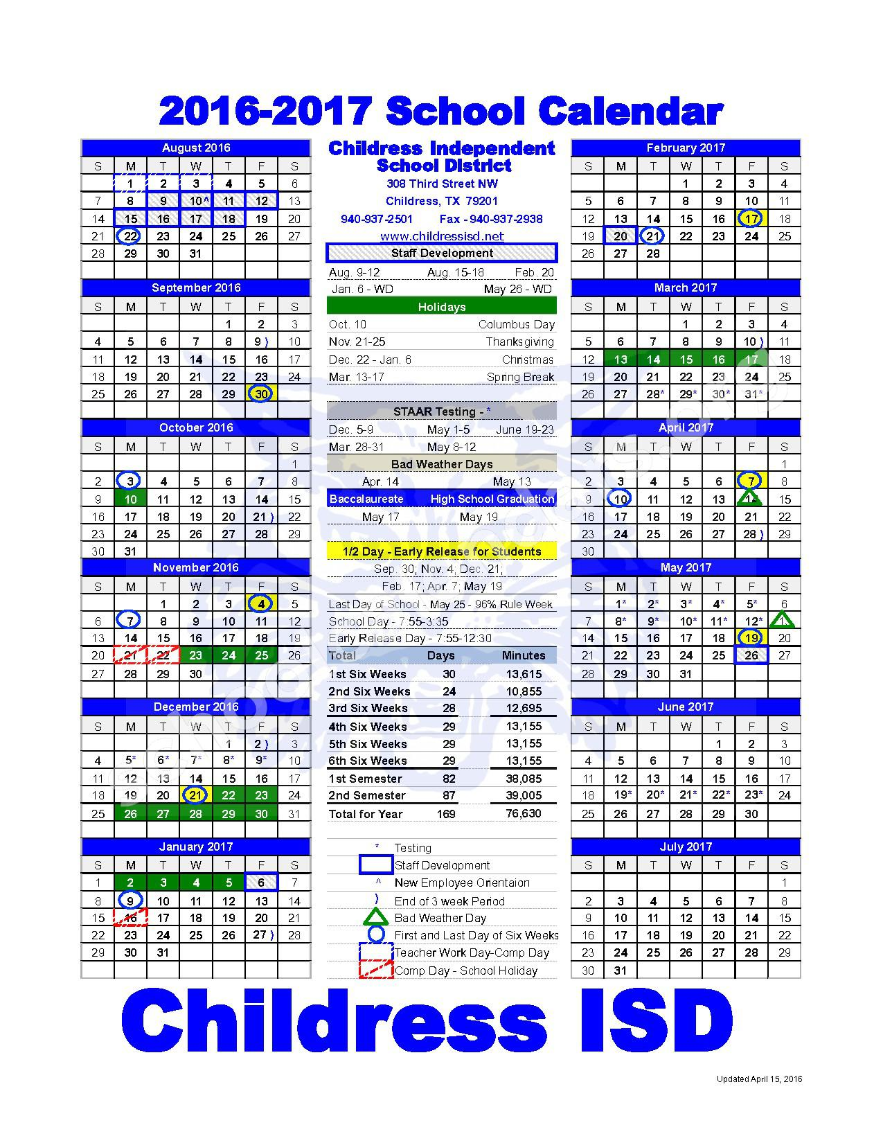 2016 - 2017 District Calendar – Childress Independent School District – page 1