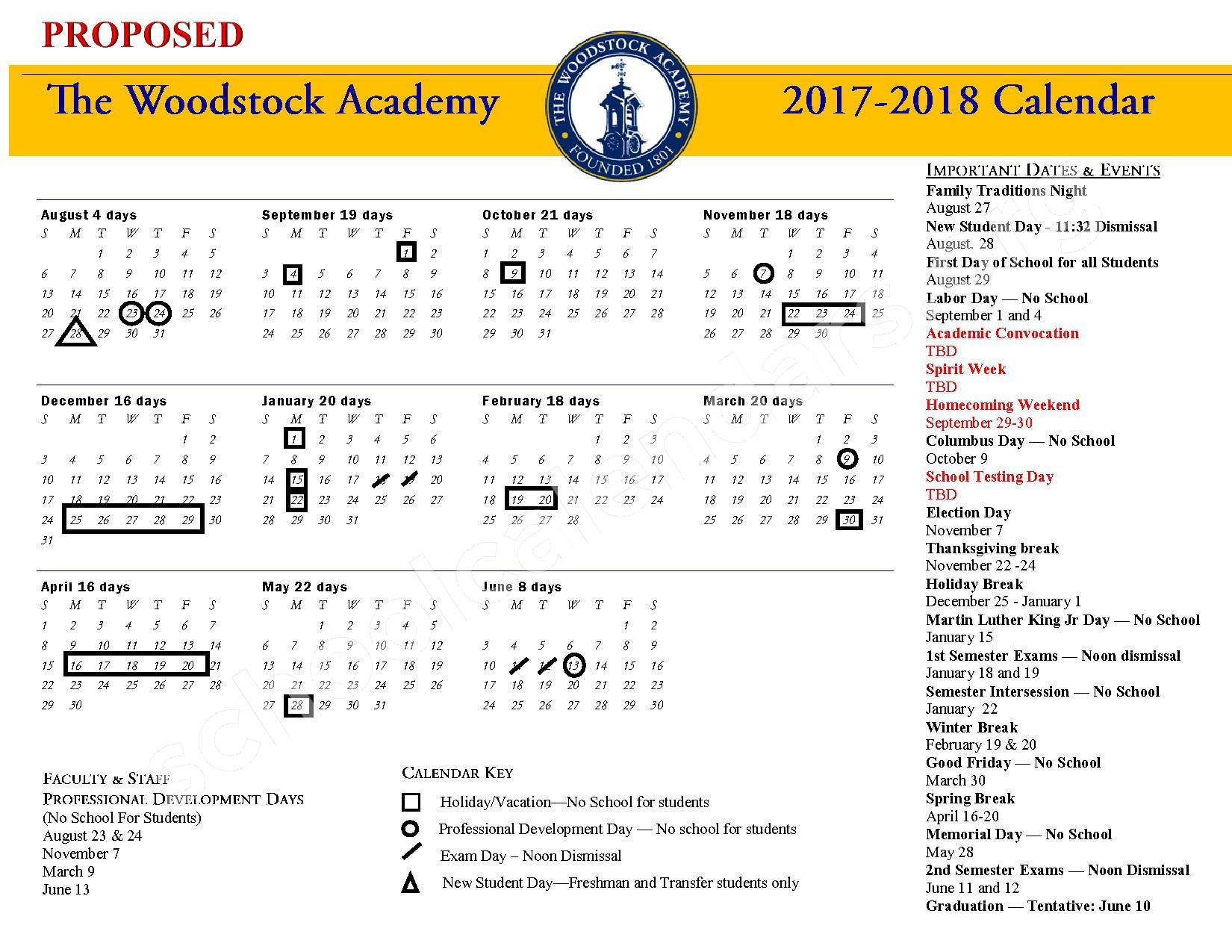 2017 - 2018 School Calendar – Woodstock Academy – page 1