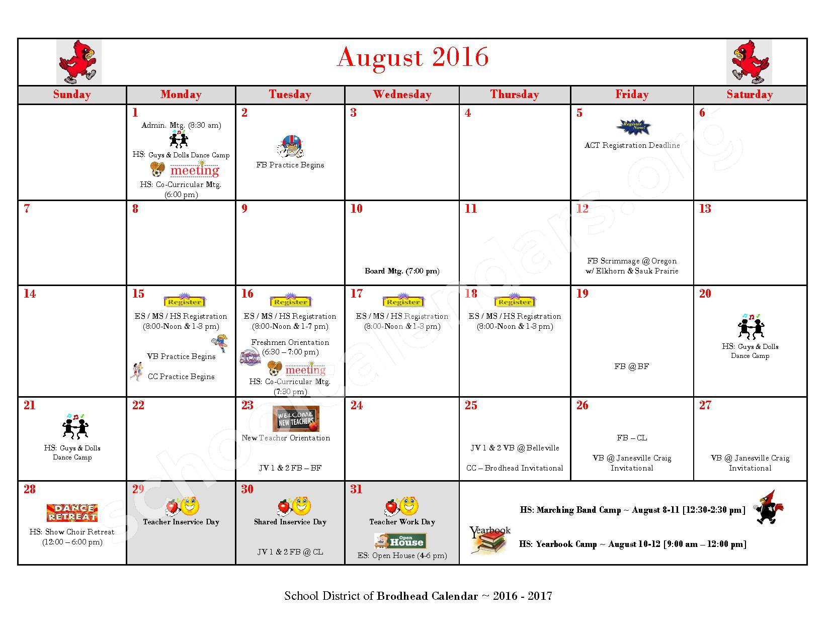 2016 - 2017 School Calendar – Brodhead School District – page 1