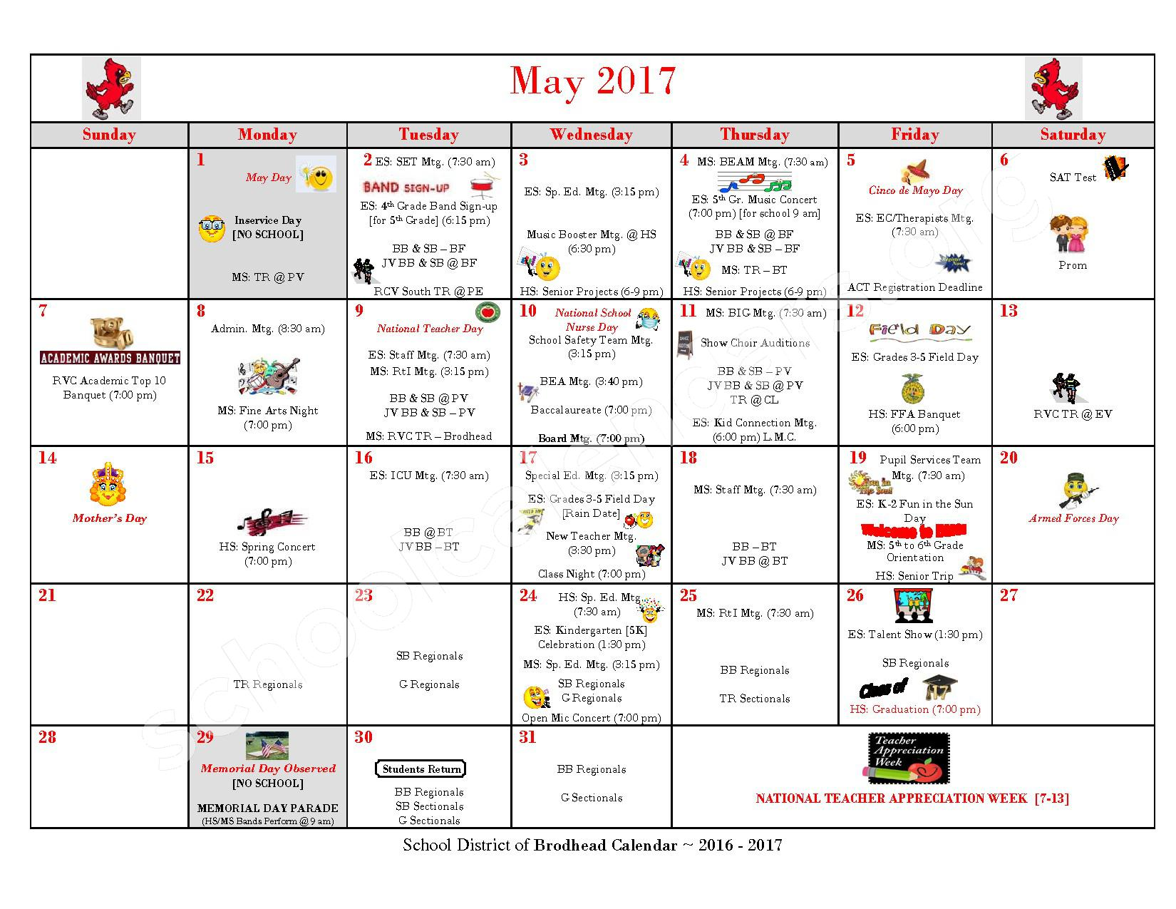 2016 - 2017 School Calendar – Brodhead School District – page 10