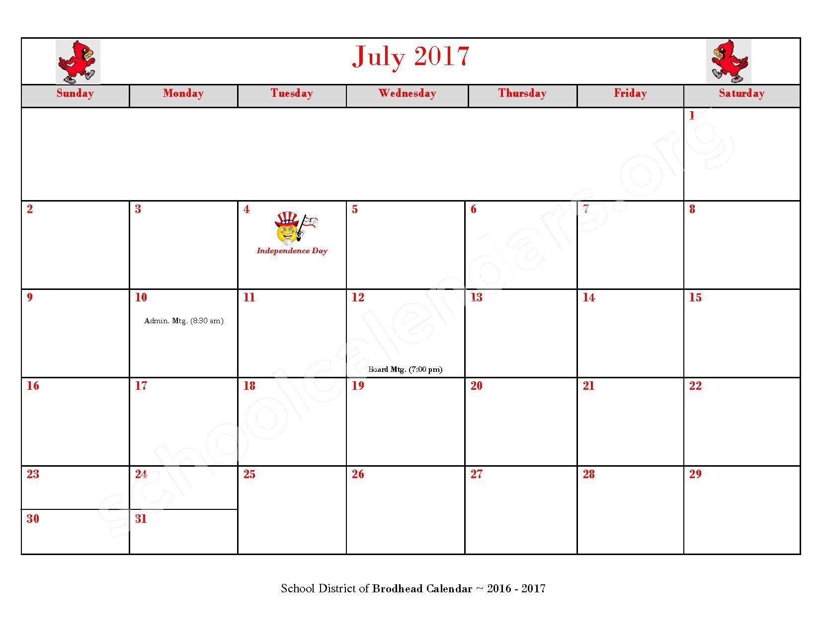 2016 - 2017 School Calendar – Brodhead School District – page 12