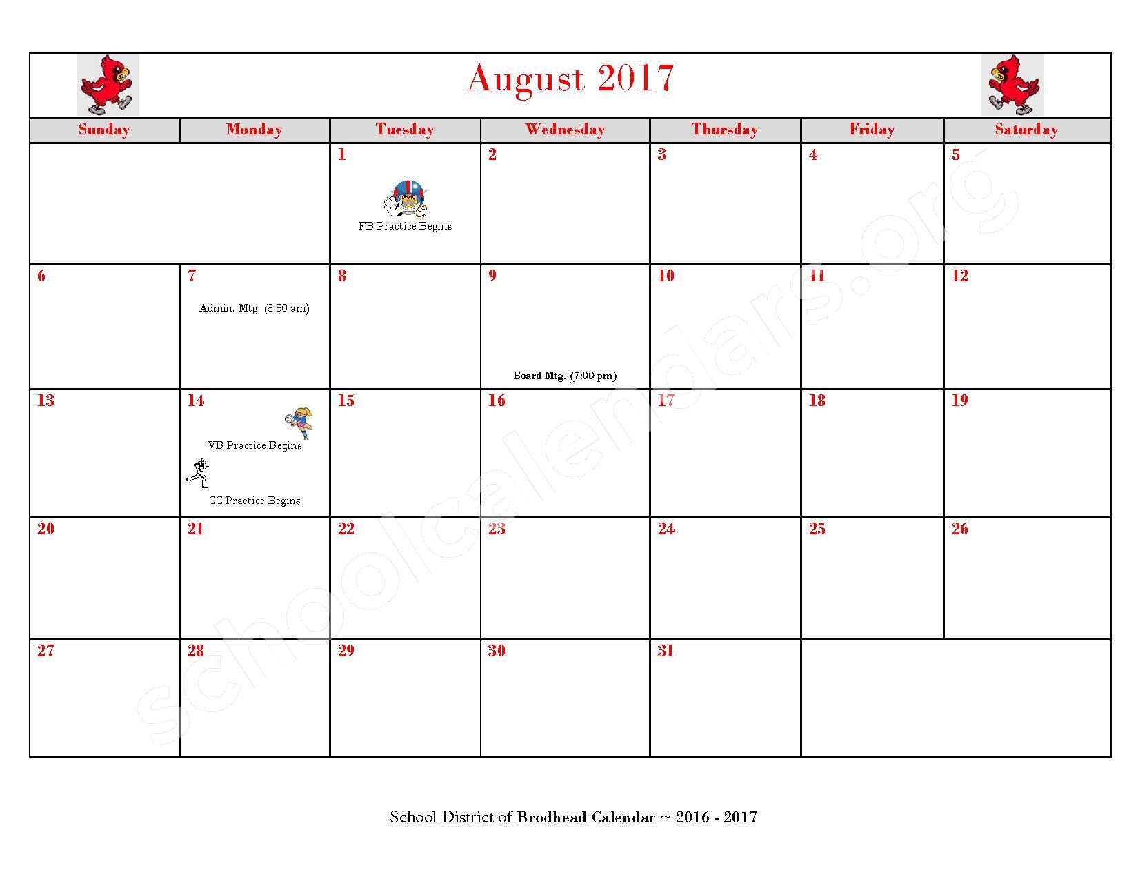 2016 - 2017 School Calendar – Brodhead School District – page 13