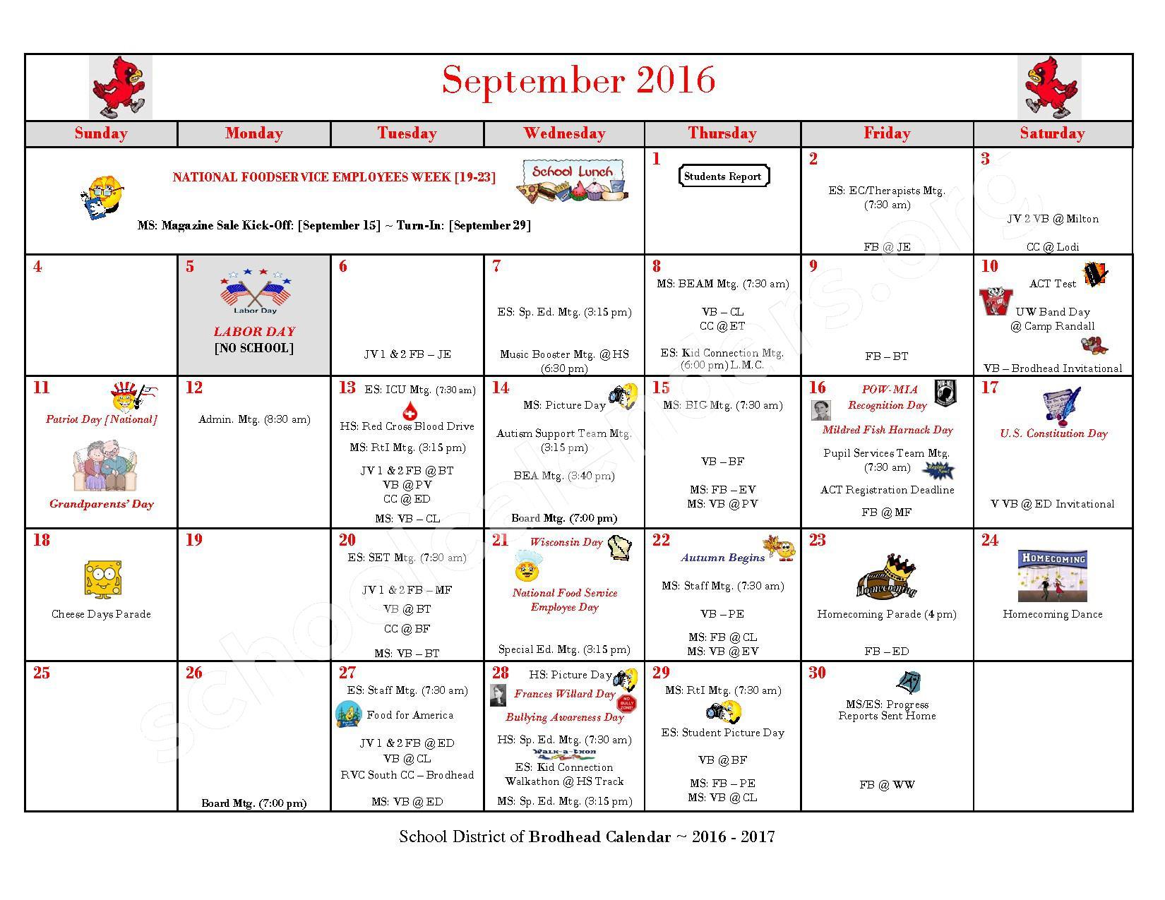 2016 - 2017 School Calendar – Brodhead School District – page 2
