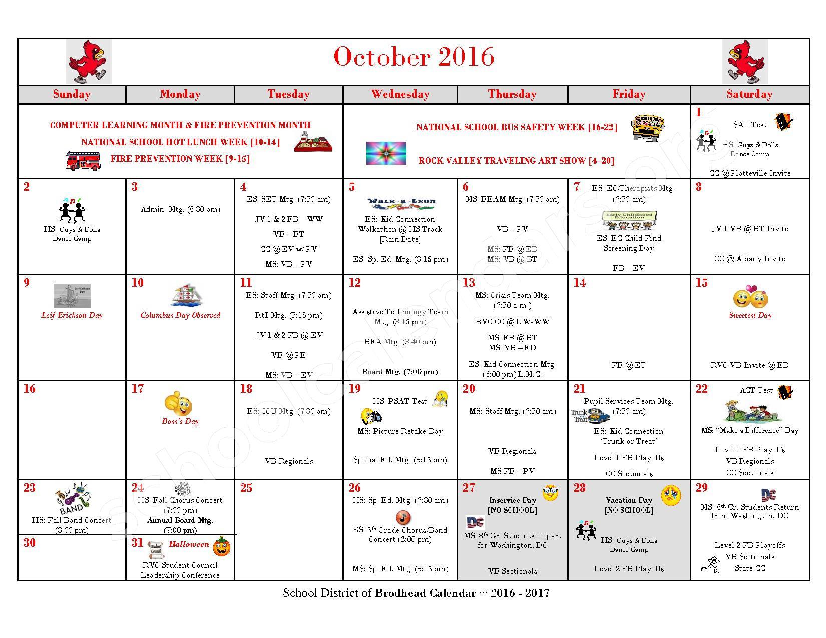 2016 - 2017 School Calendar – Brodhead School District – page 3