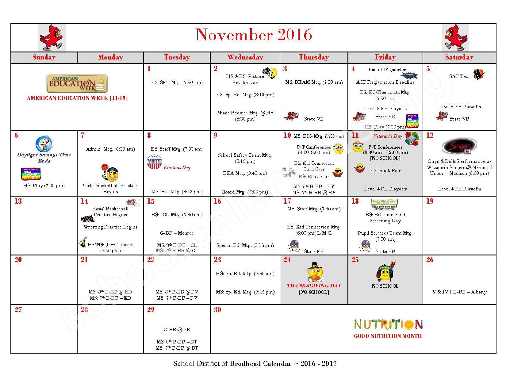 2016 - 2017 School Calendar – Brodhead School District – page 4