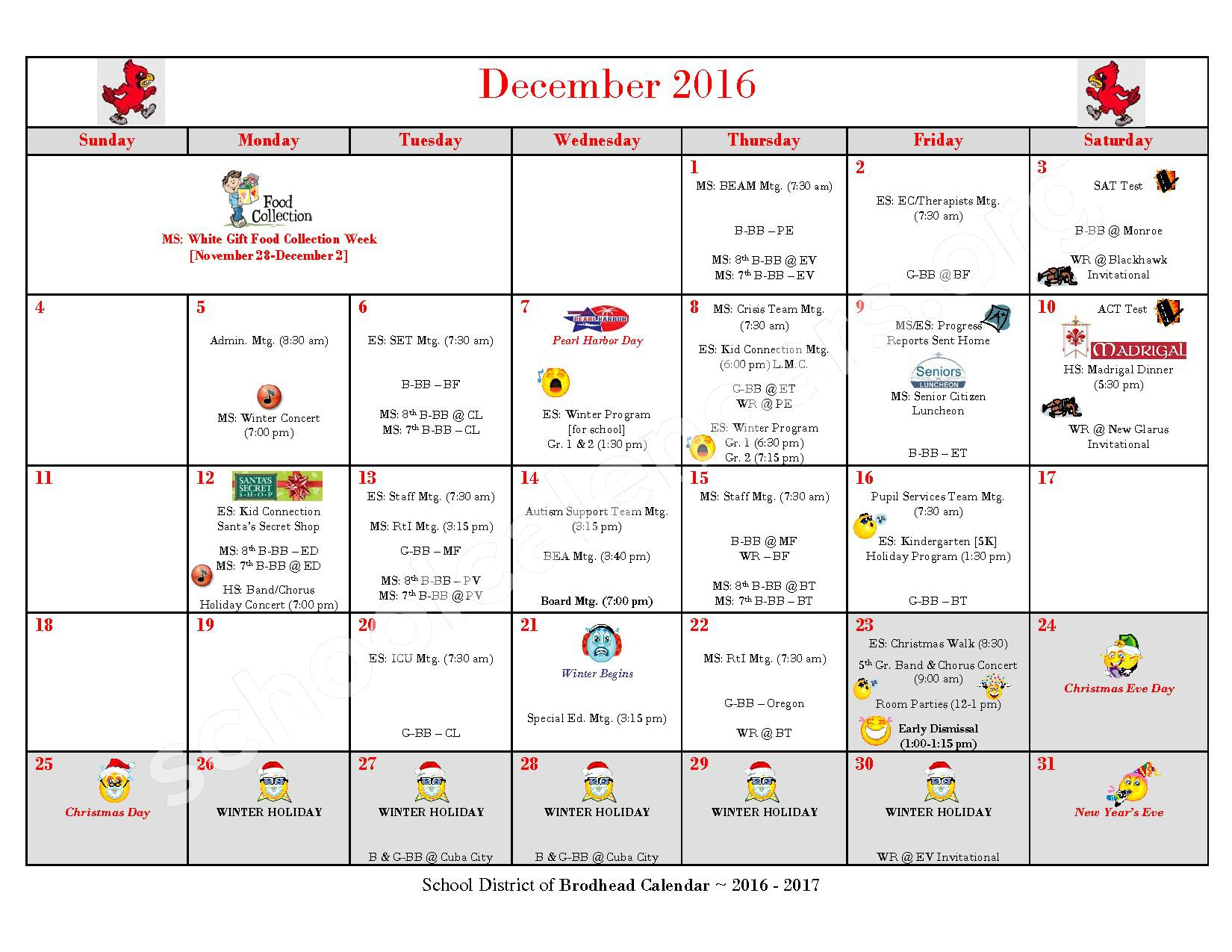 2016 - 2017 School Calendar – Brodhead School District – page 5