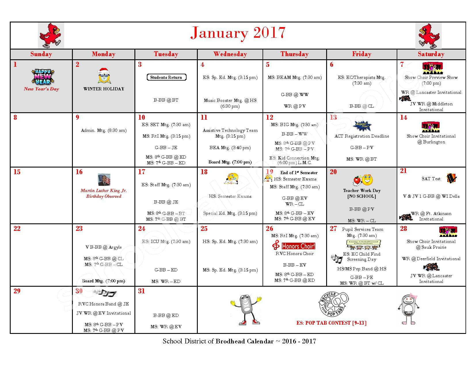 2016 - 2017 School Calendar – Brodhead School District – page 6