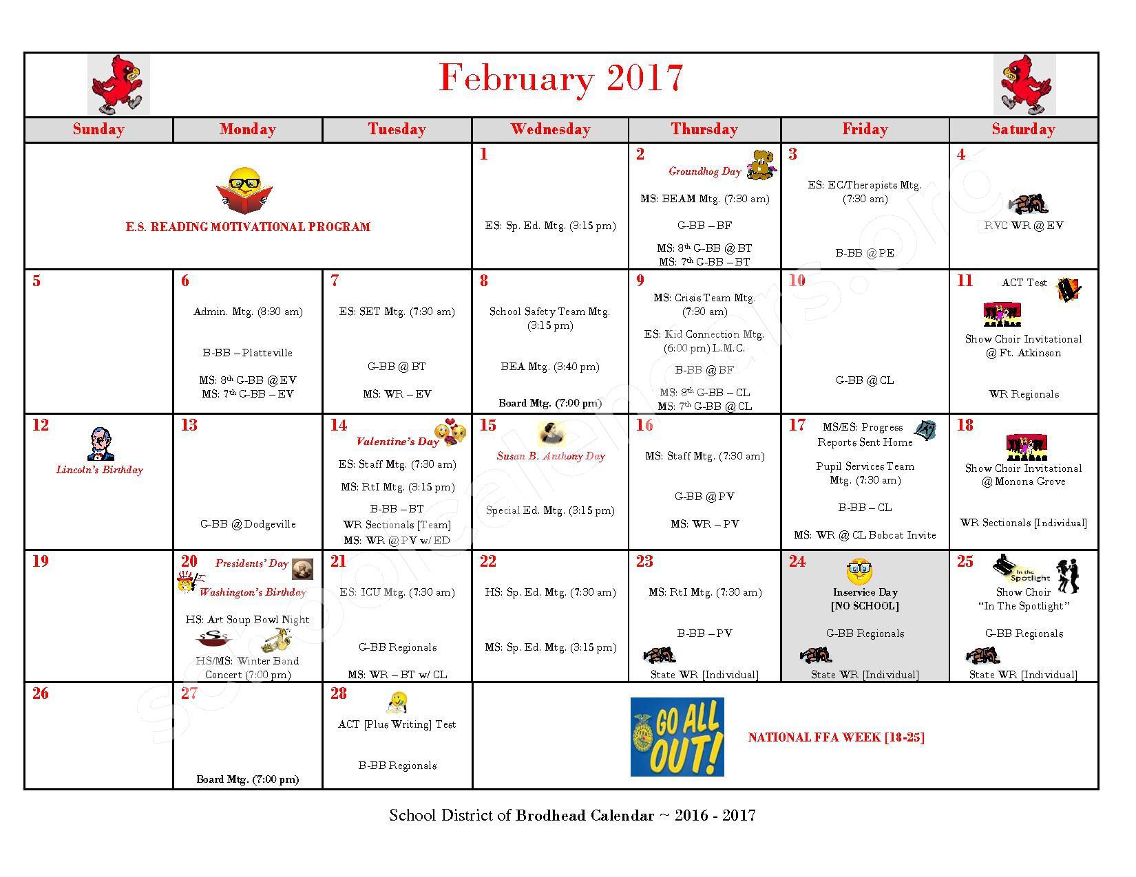 2016 - 2017 School Calendar – Brodhead School District – page 7