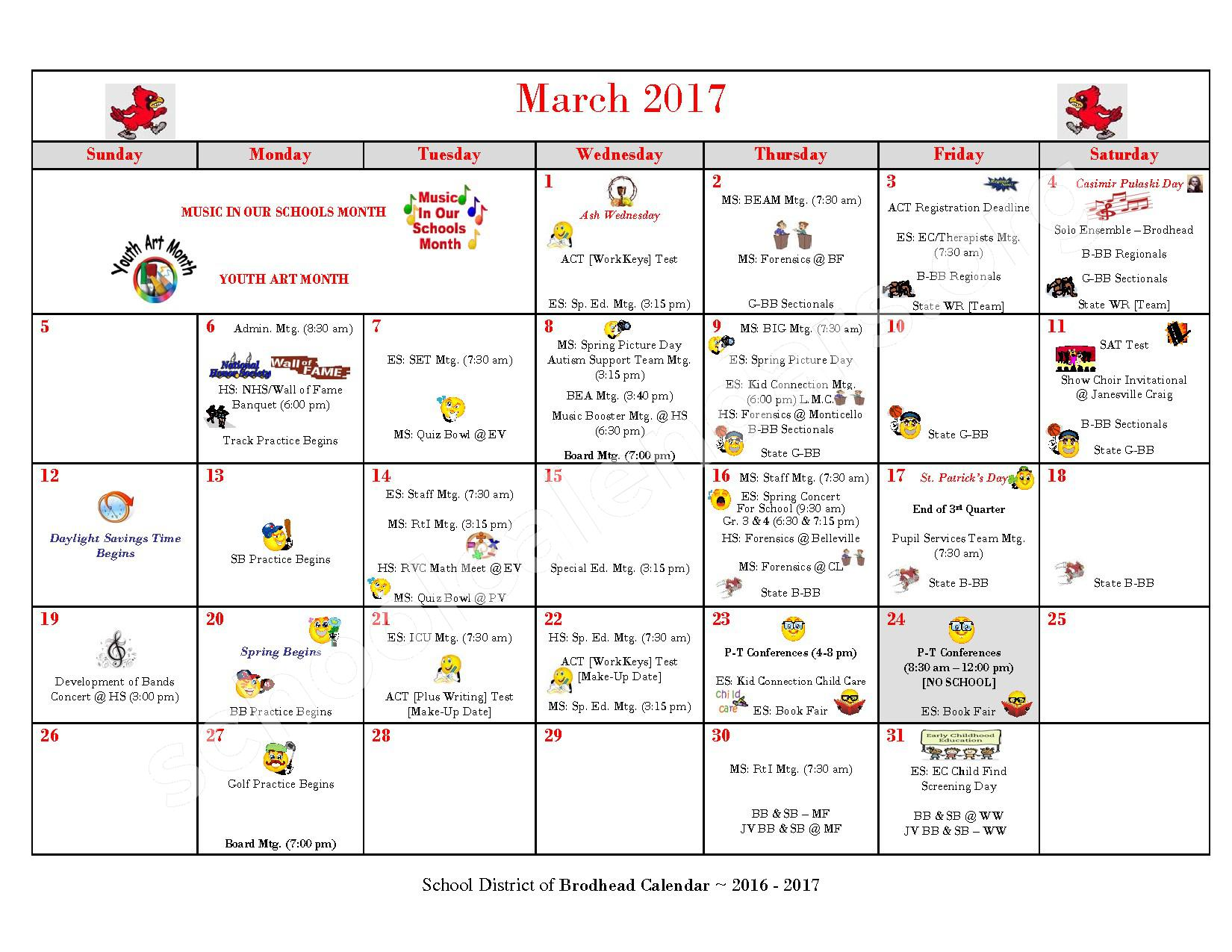 2016 - 2017 School Calendar – Brodhead School District – page 8