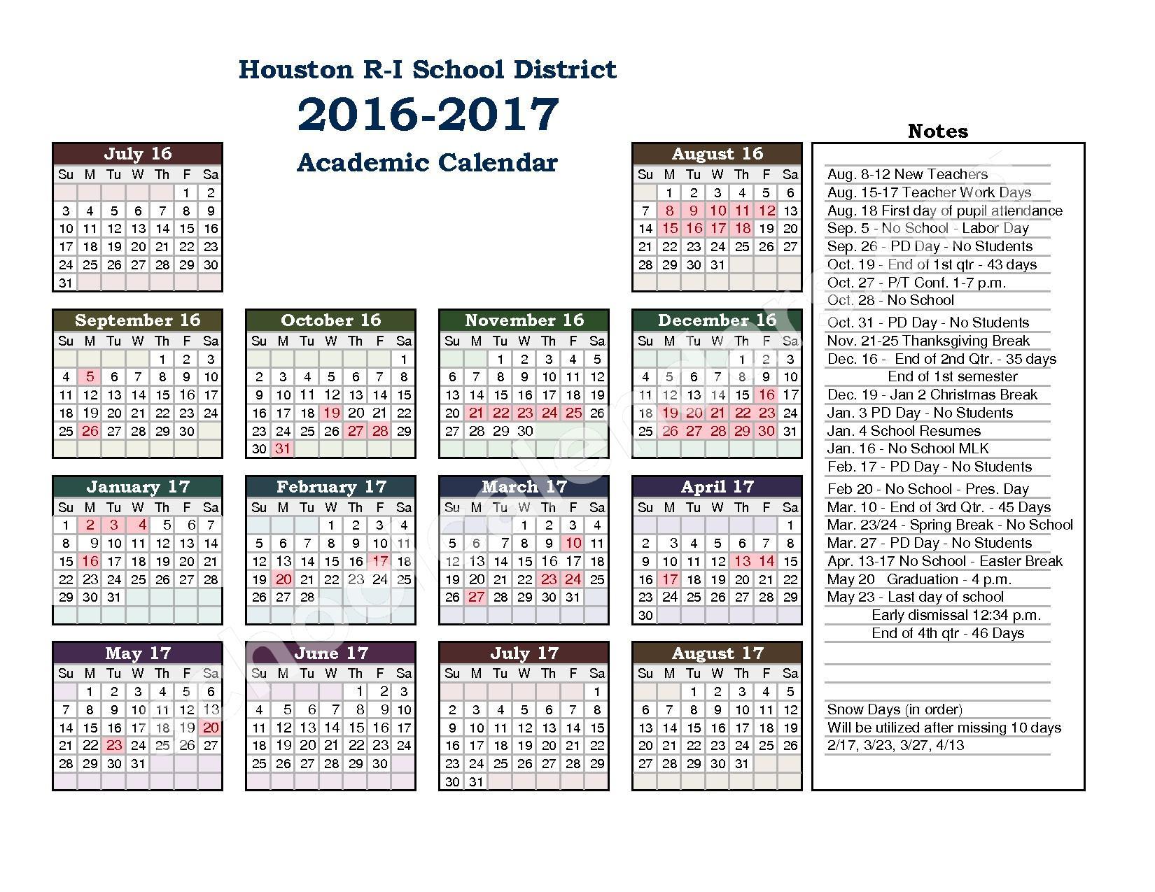 2016 - 2017 School Calendar – Houston R-I School District – page 1