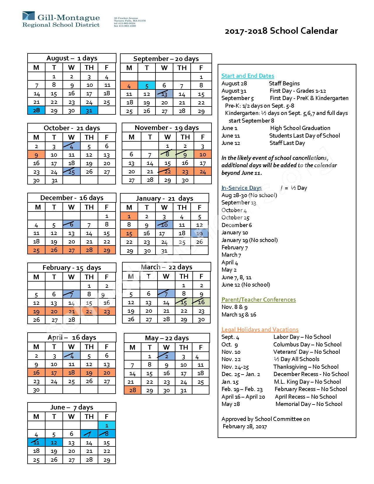 2017 - 2018 District Calendar – Turners Fall High School – page 1