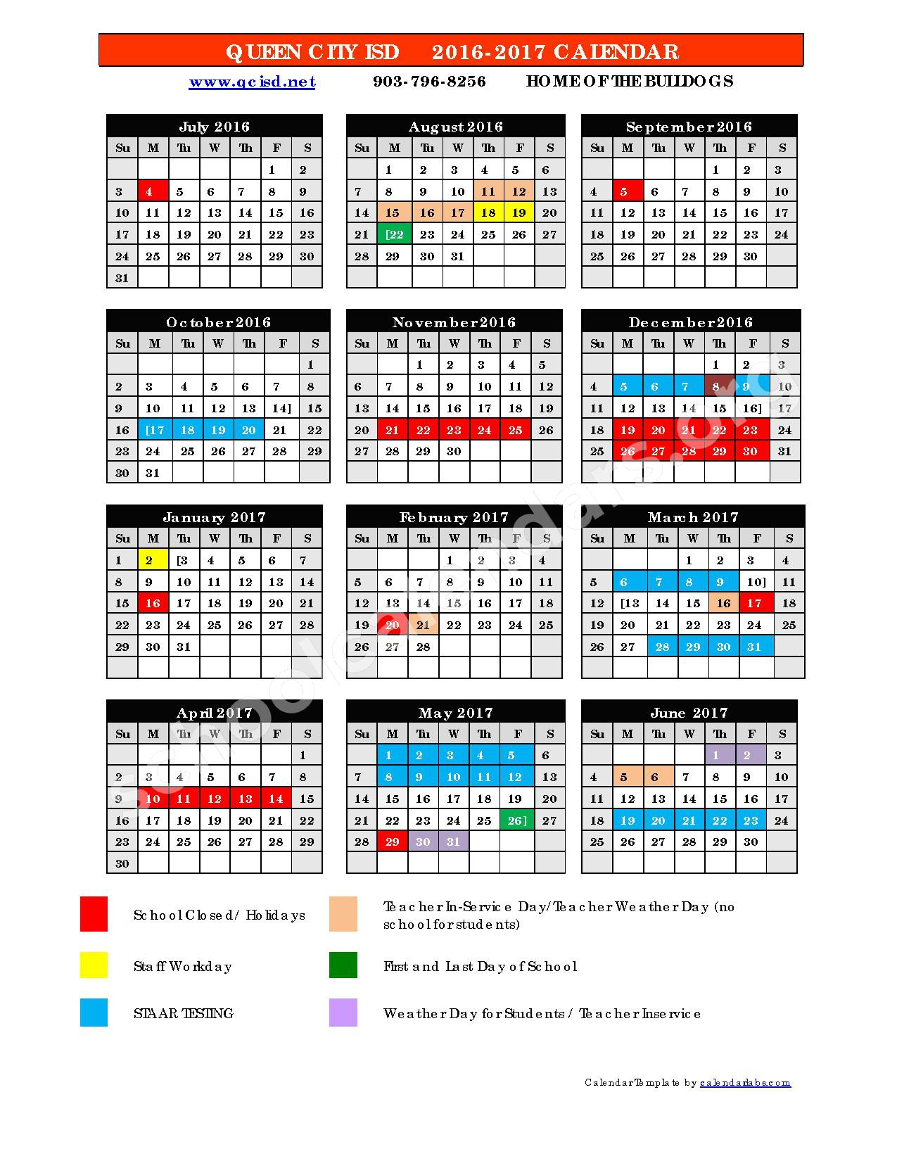 2016 - 2017 District Calendar – Queen City Independent School District – page 1