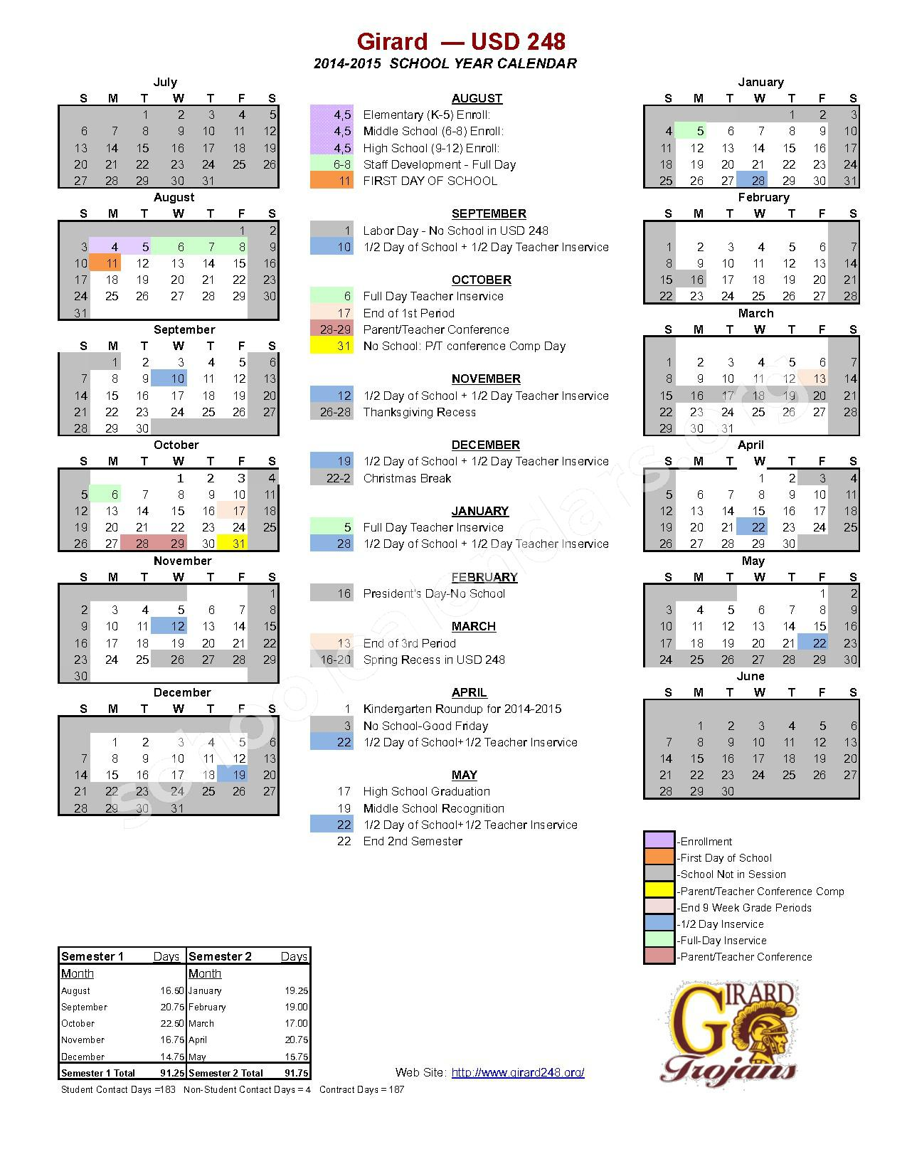 2014 - 2015 School Calendar – Girard Unified School District 248 – page 1