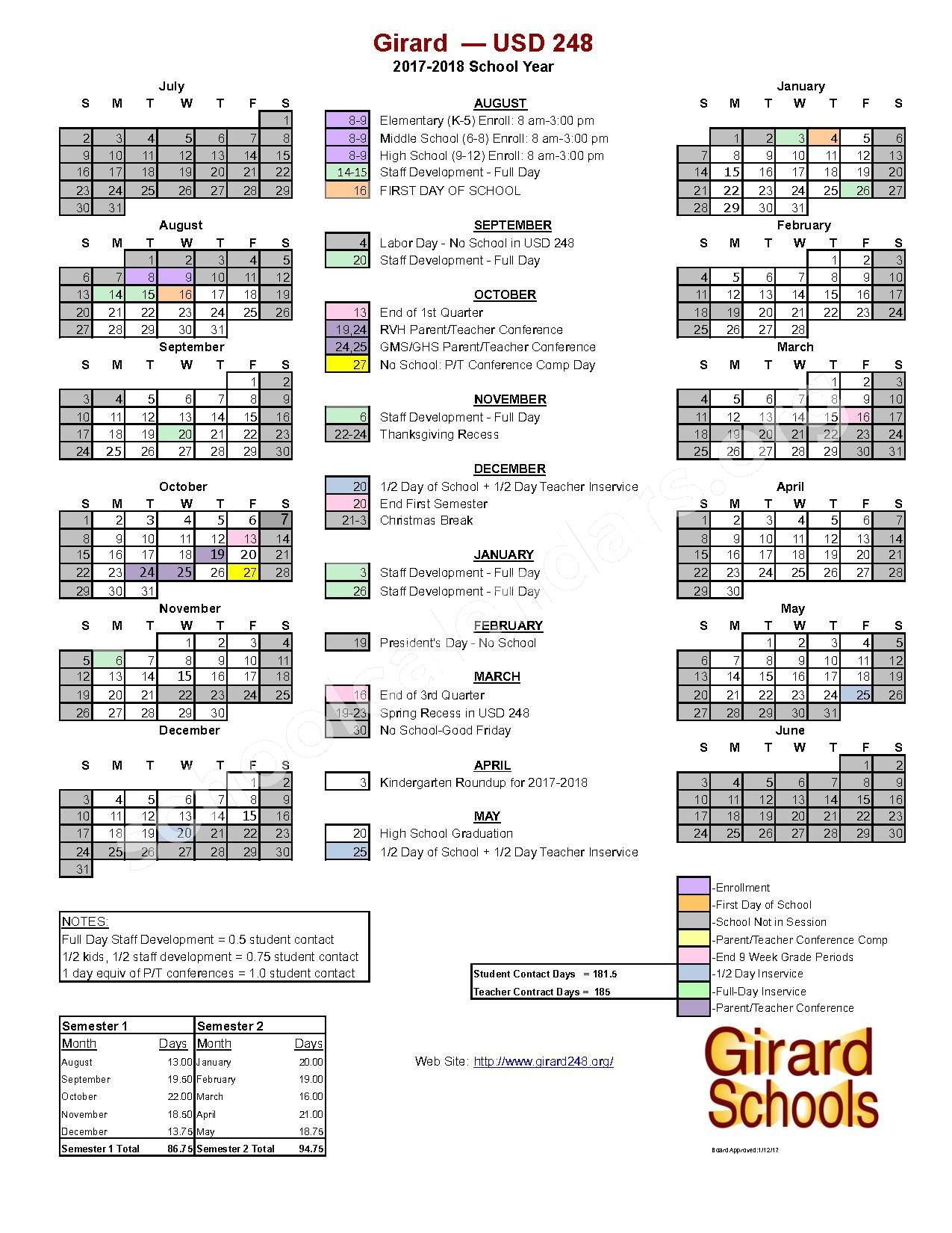 2017 - 2018 School Calendar – Girard Unified School District 248 – page 1