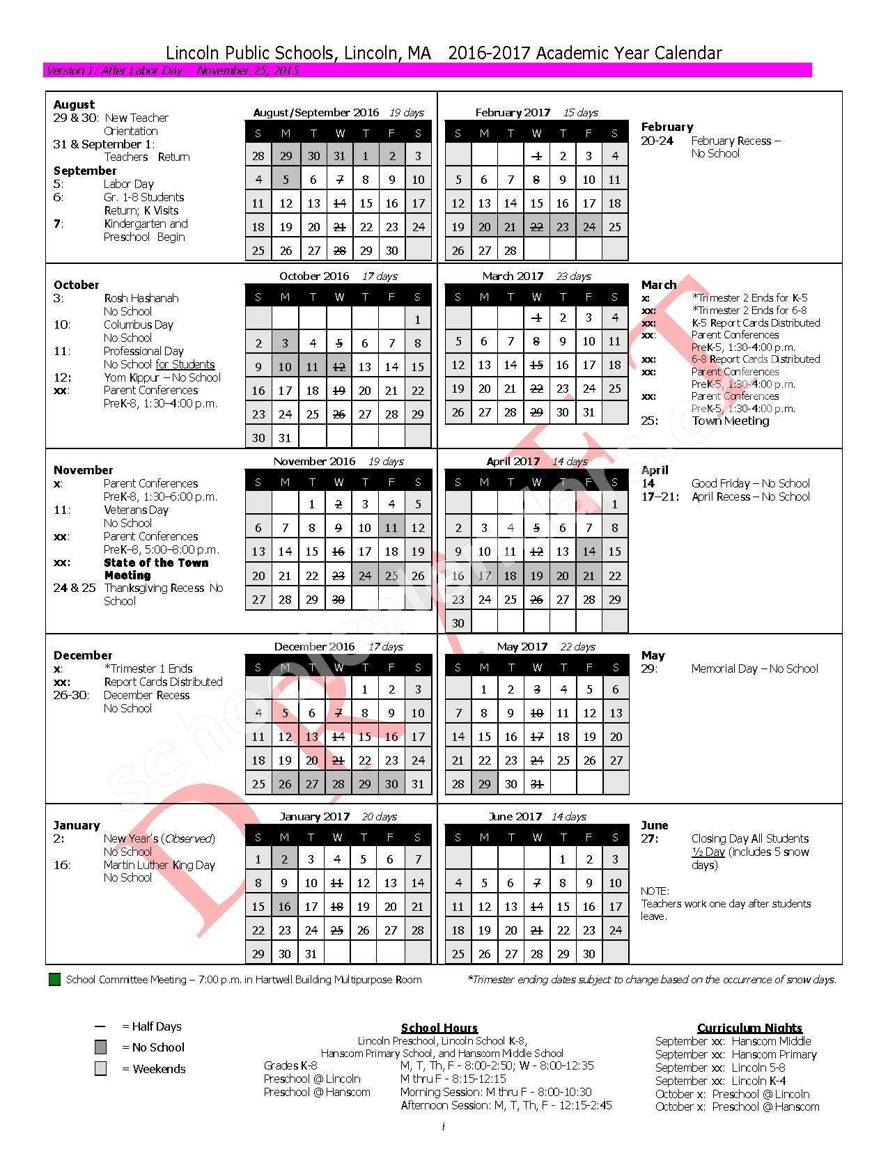 2016 - 2017 District Calendar – Hanscom Primary – page 1