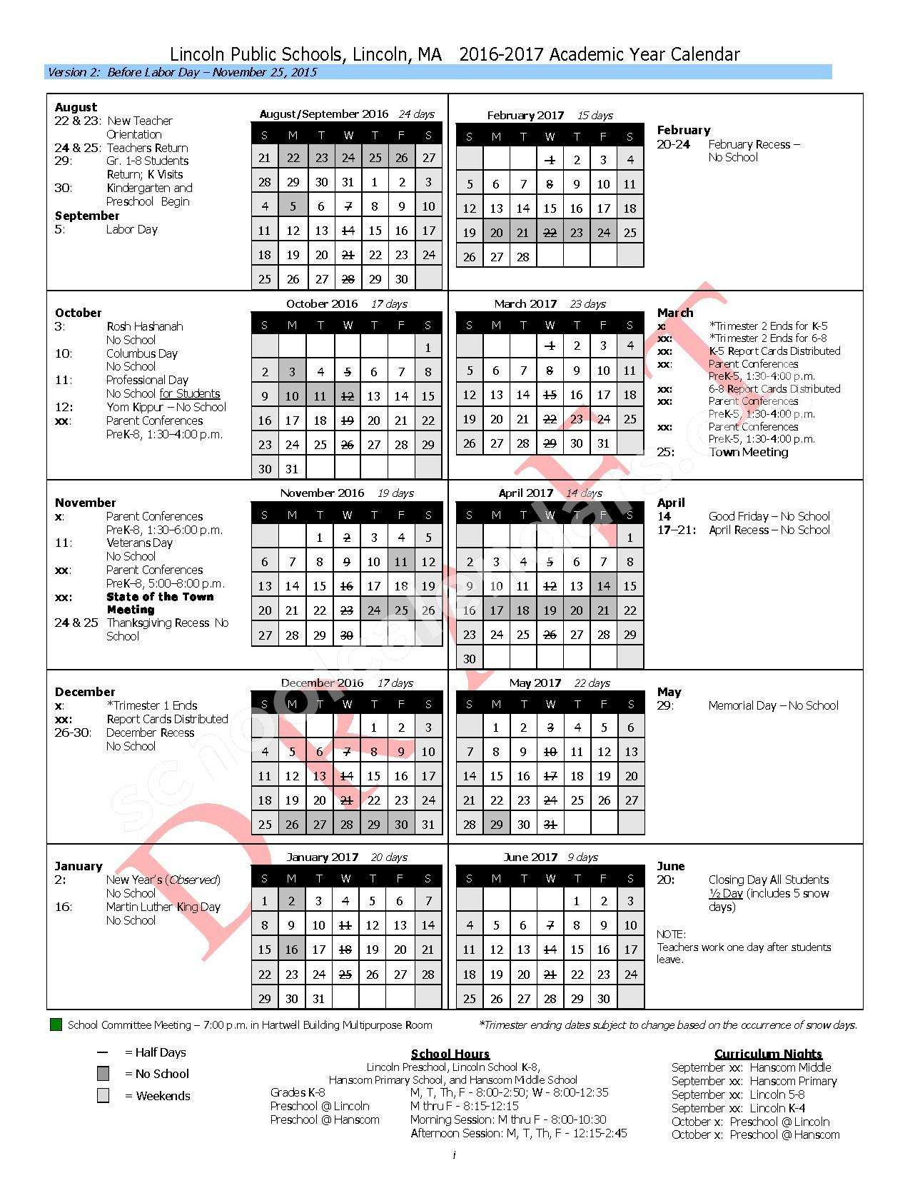 2016 - 2017 District Calendar – Hanscom Primary – page 2