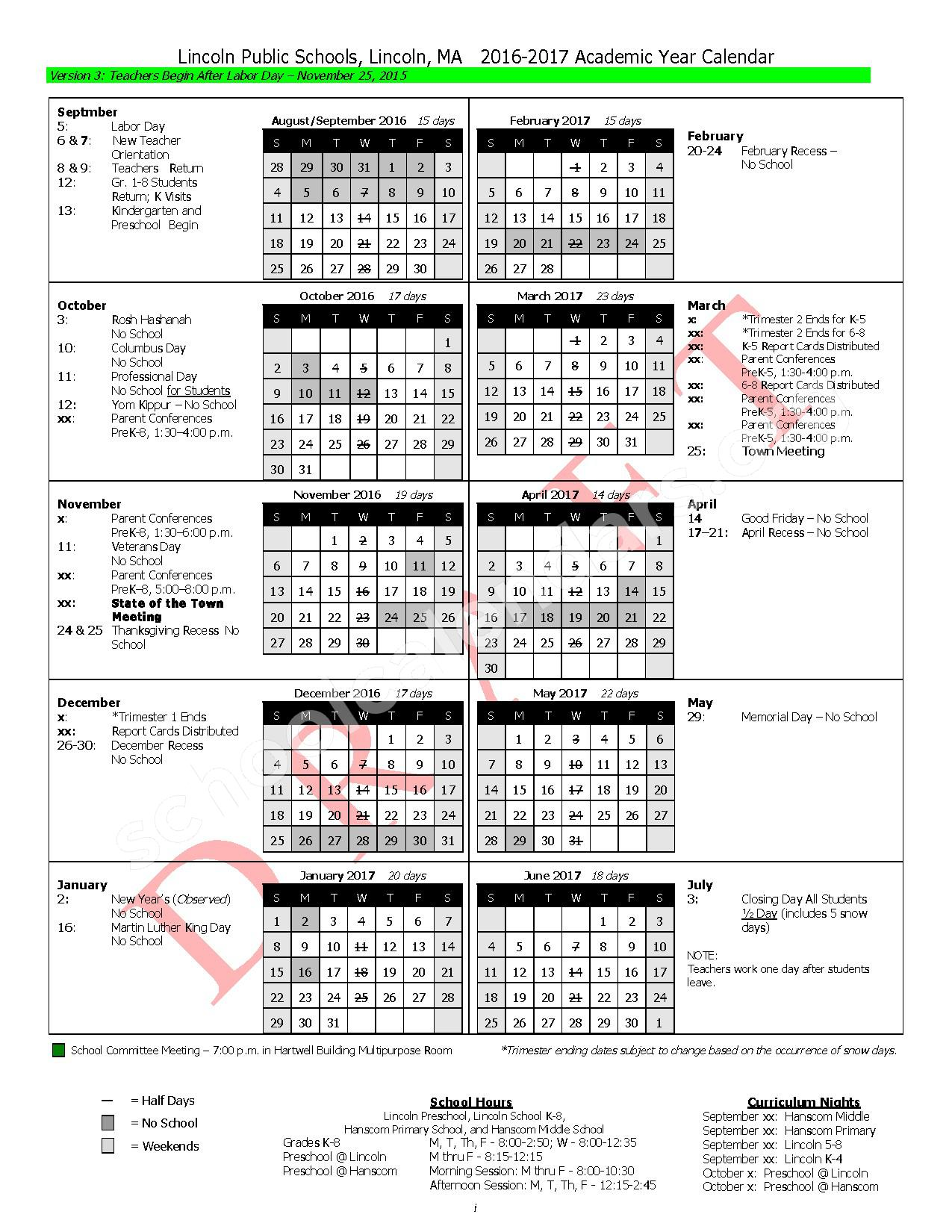 2016 - 2017 District Calendar – Lincoln Public Schools – page 3