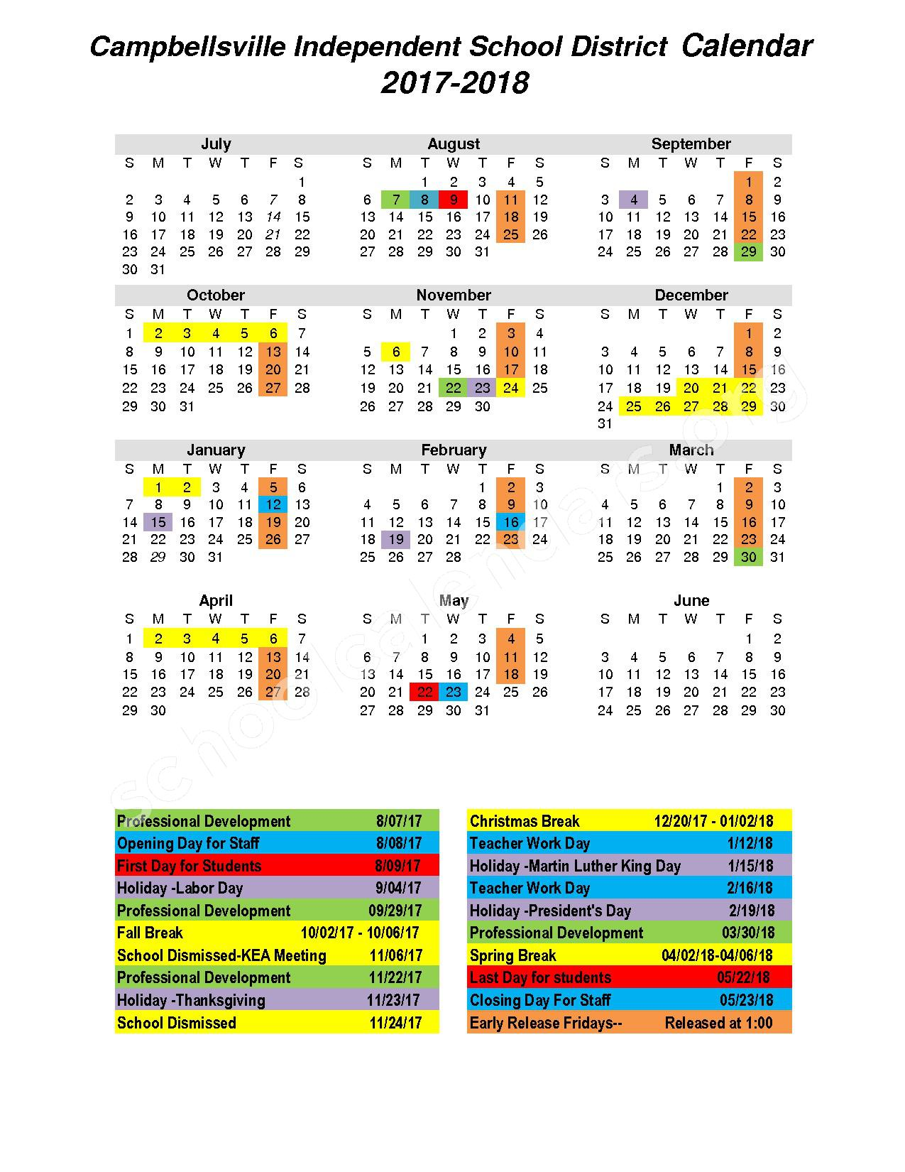 2017 - 2018 District Calendar – Campbellsville Independent School District – page 1