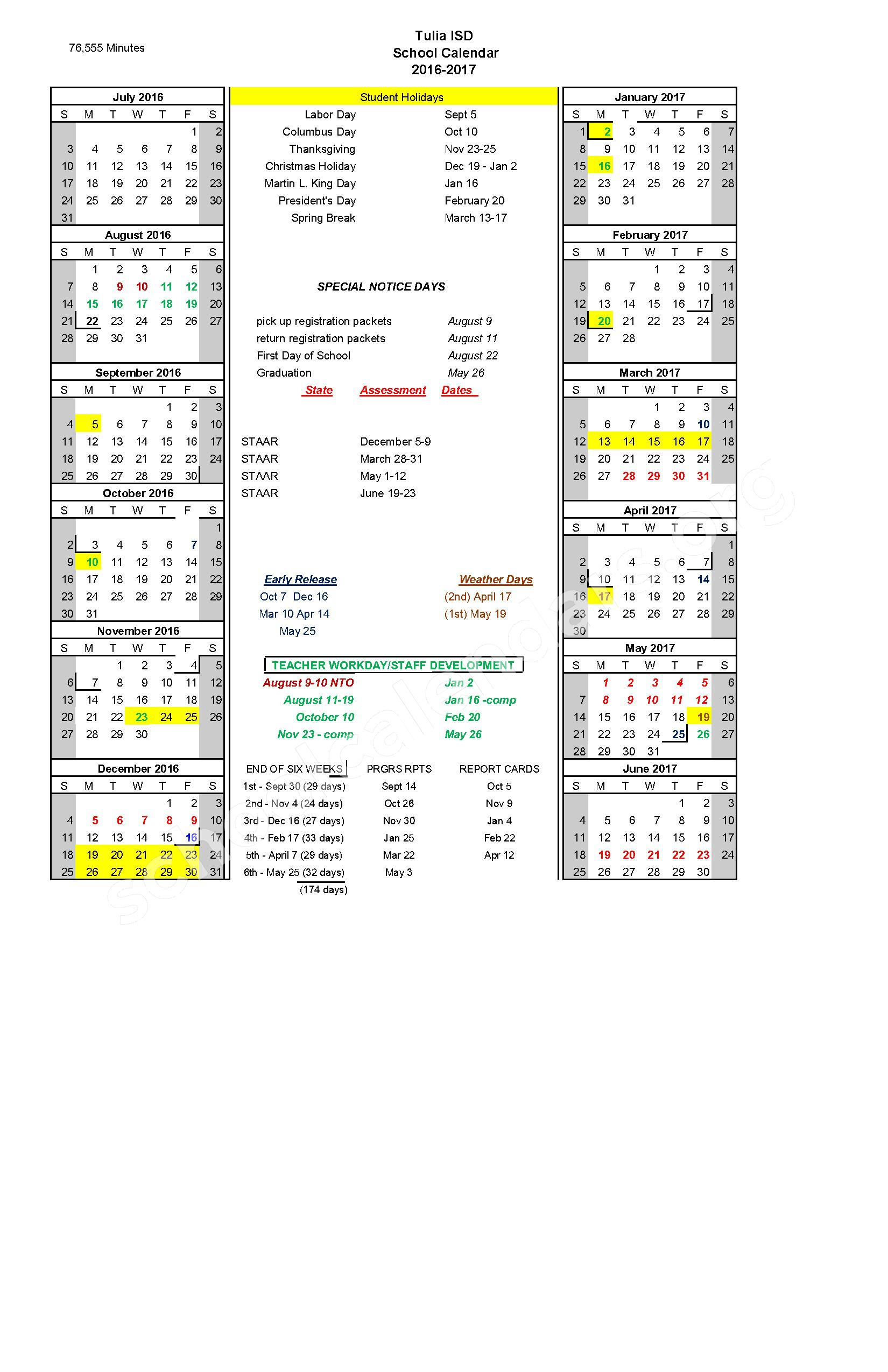 2016 - 2017 School Calendar – Tulia Independent School District – page 1