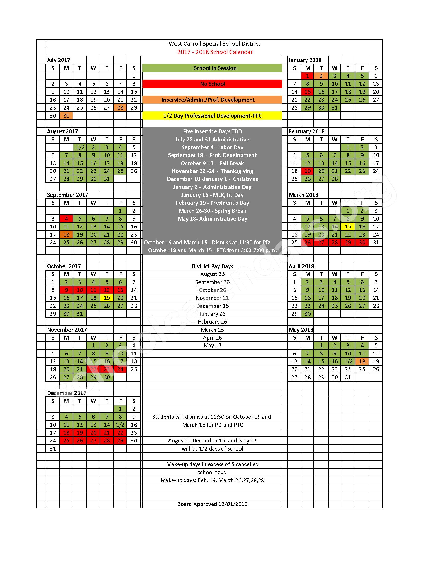 2017 - 2018 District Calendar – West Carroll Schools – page 1