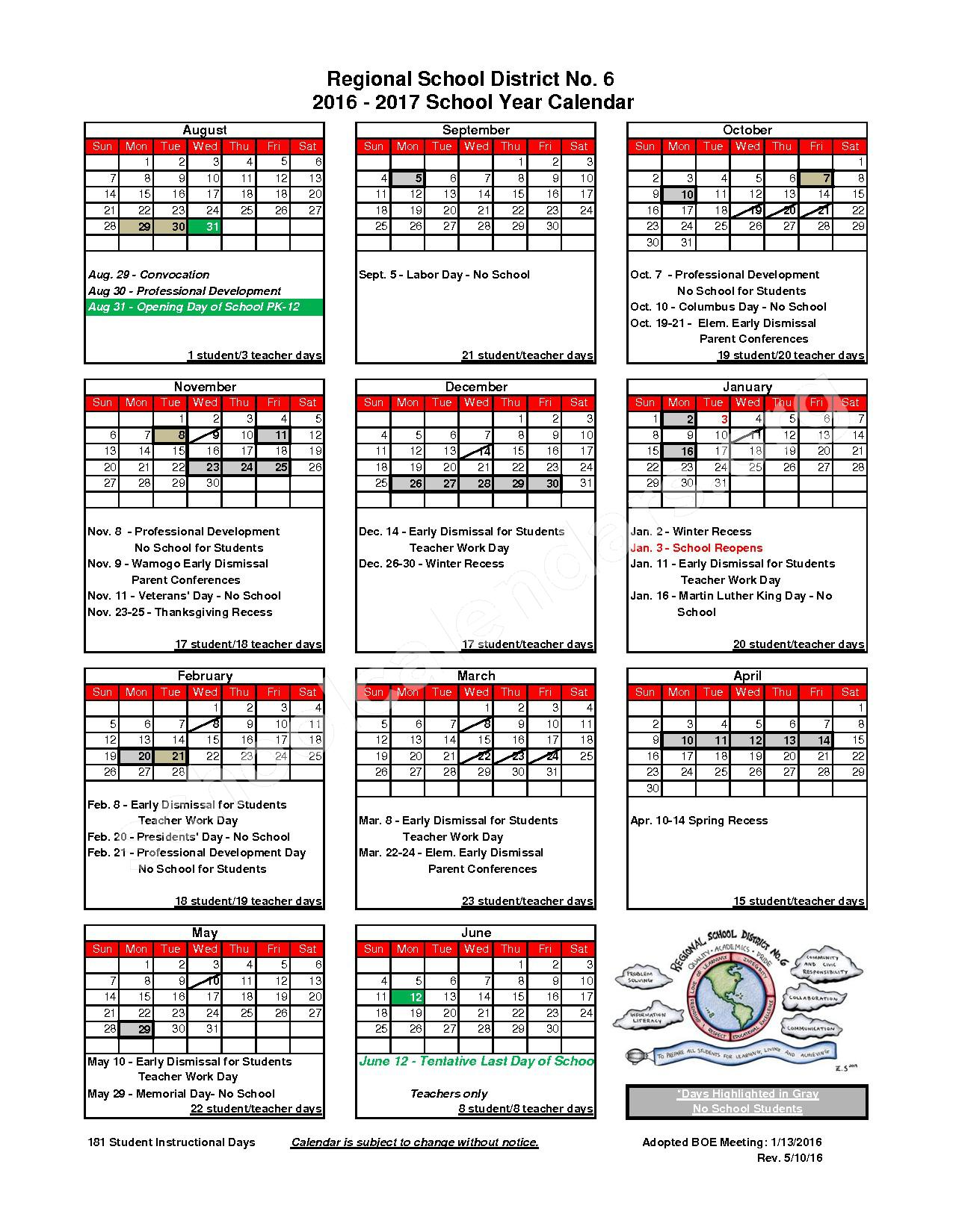 2016 - 2017 District Calendar – Regional Public Schools 6 – page 1