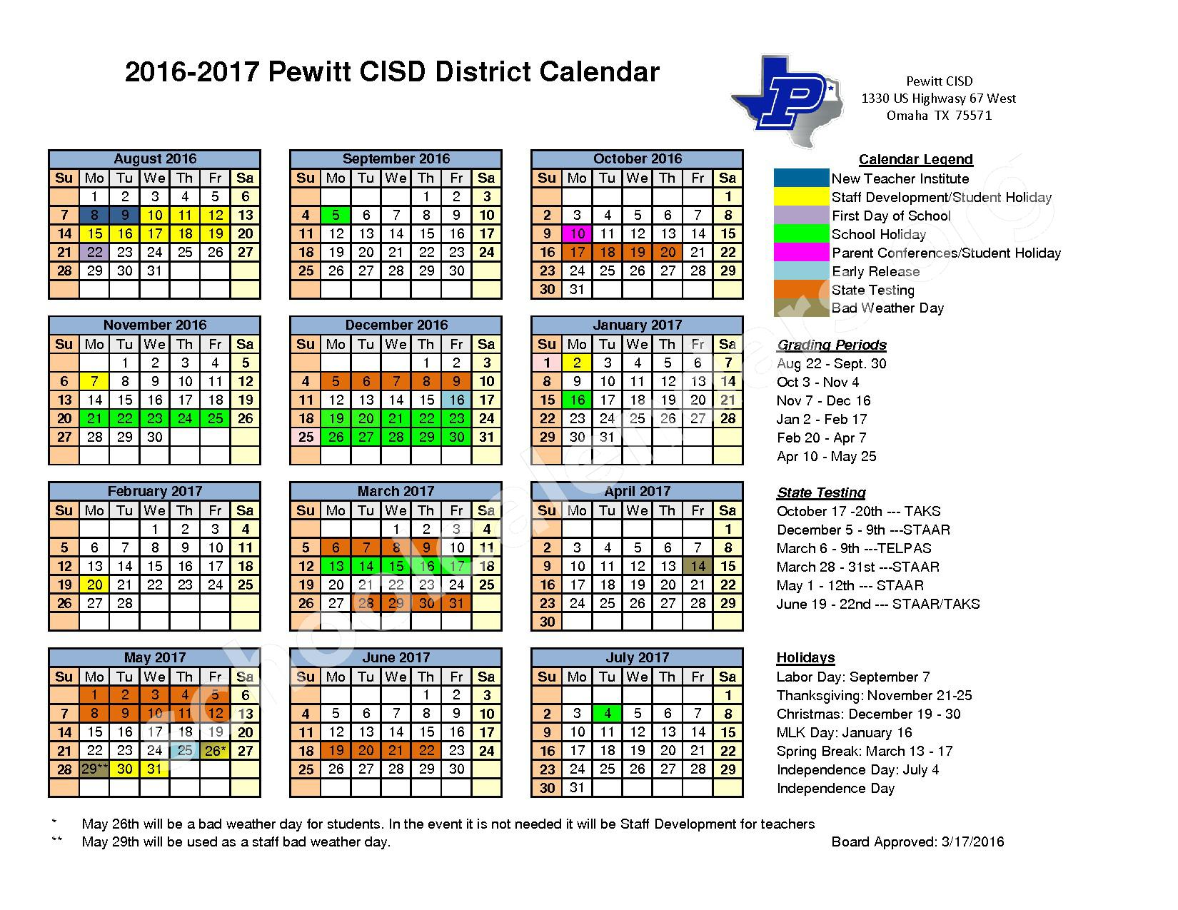 2016 - 2017 District Calendar – Pewitt Consolidated Independent School District – page 1