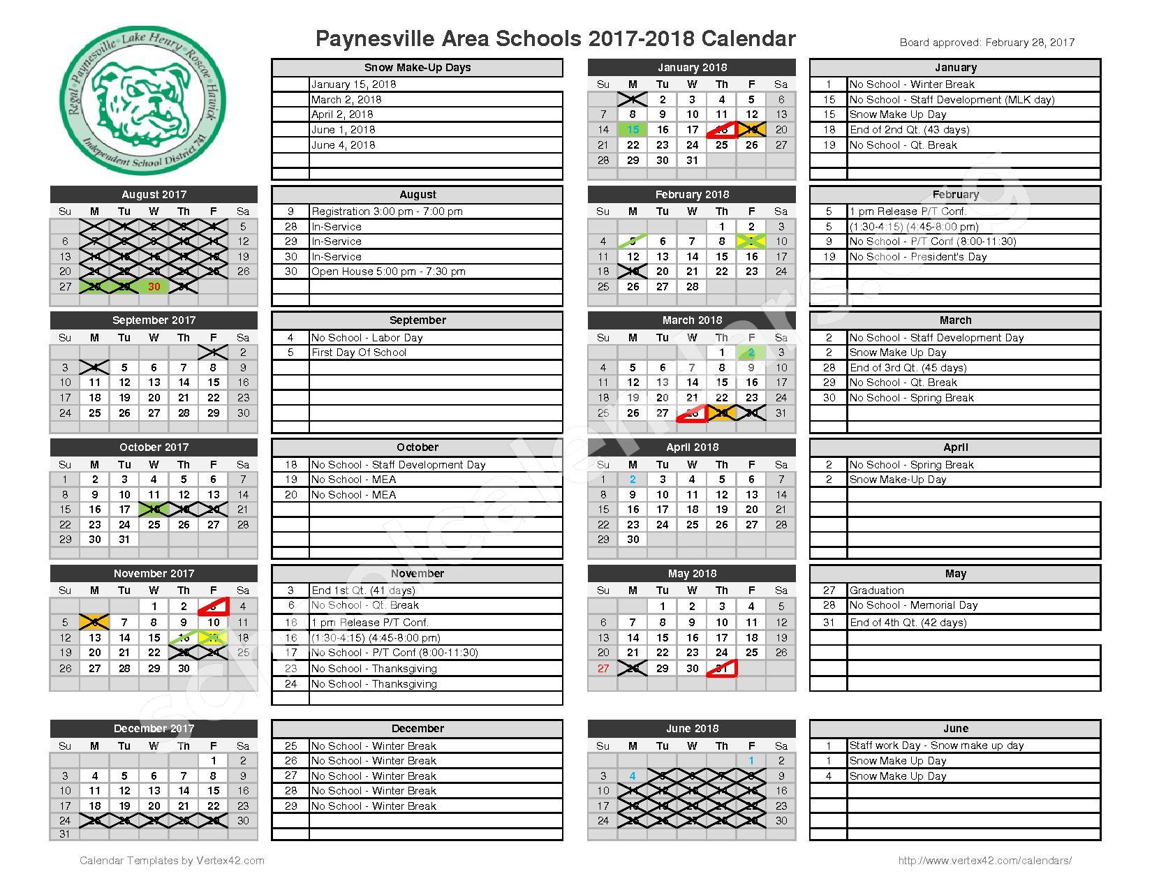 2017 - 2018 School Calendar – Paynesville Public School District – page 1