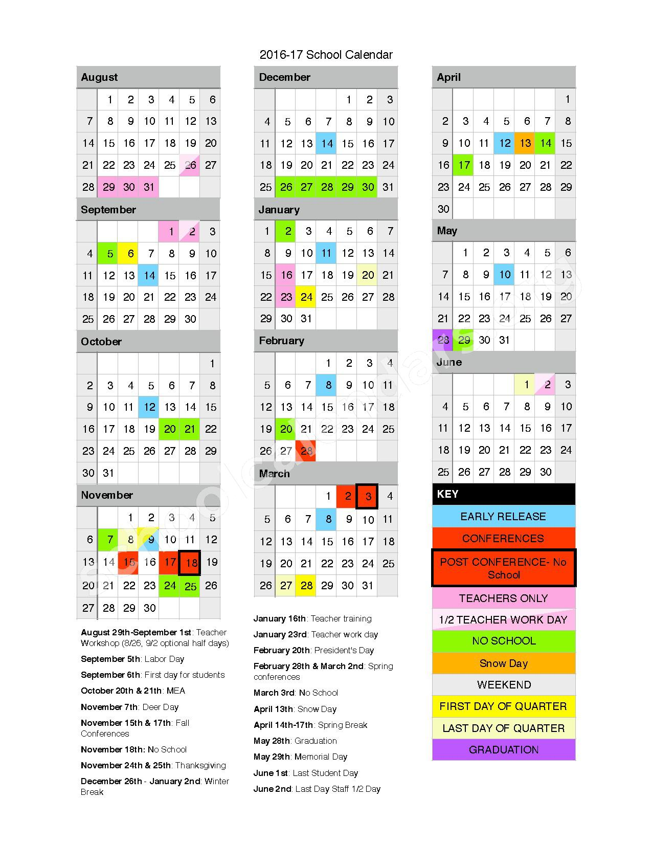 2016 - 2017 District Calendar – Hinckley-Finlayson School District – page 1