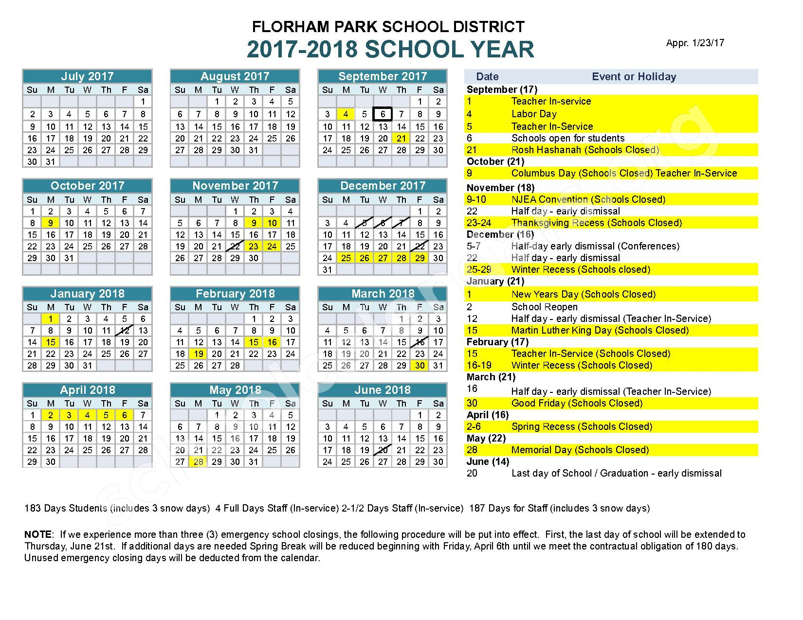 2017 - 2018 School Calendar – Florham Park School District – page 1