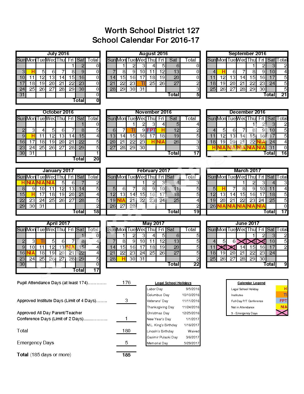 2016 - 2017 School Calendar – Worth School District 127 – page 1