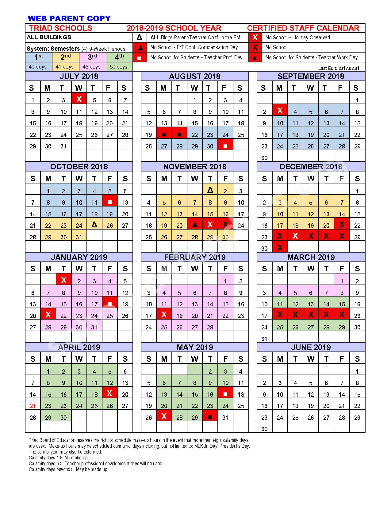 2018 - 2019 School Calendar – Triad High School – page 1