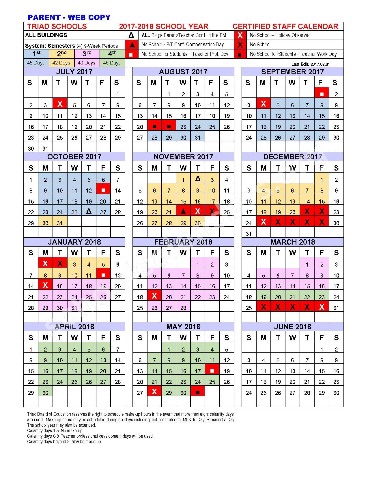 2017 - 2018 School Calendar – Triad Local Schools – page 1