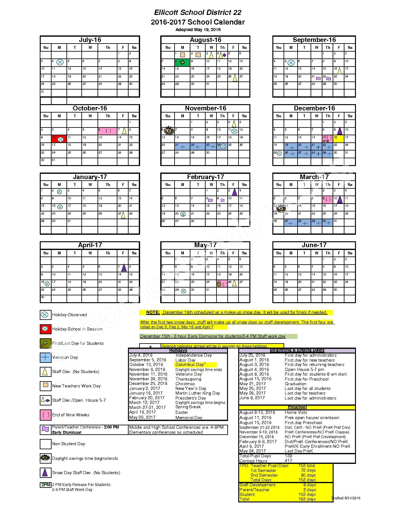 2016 - 2017 School Calendar – Ellicott School District 22 – page 1