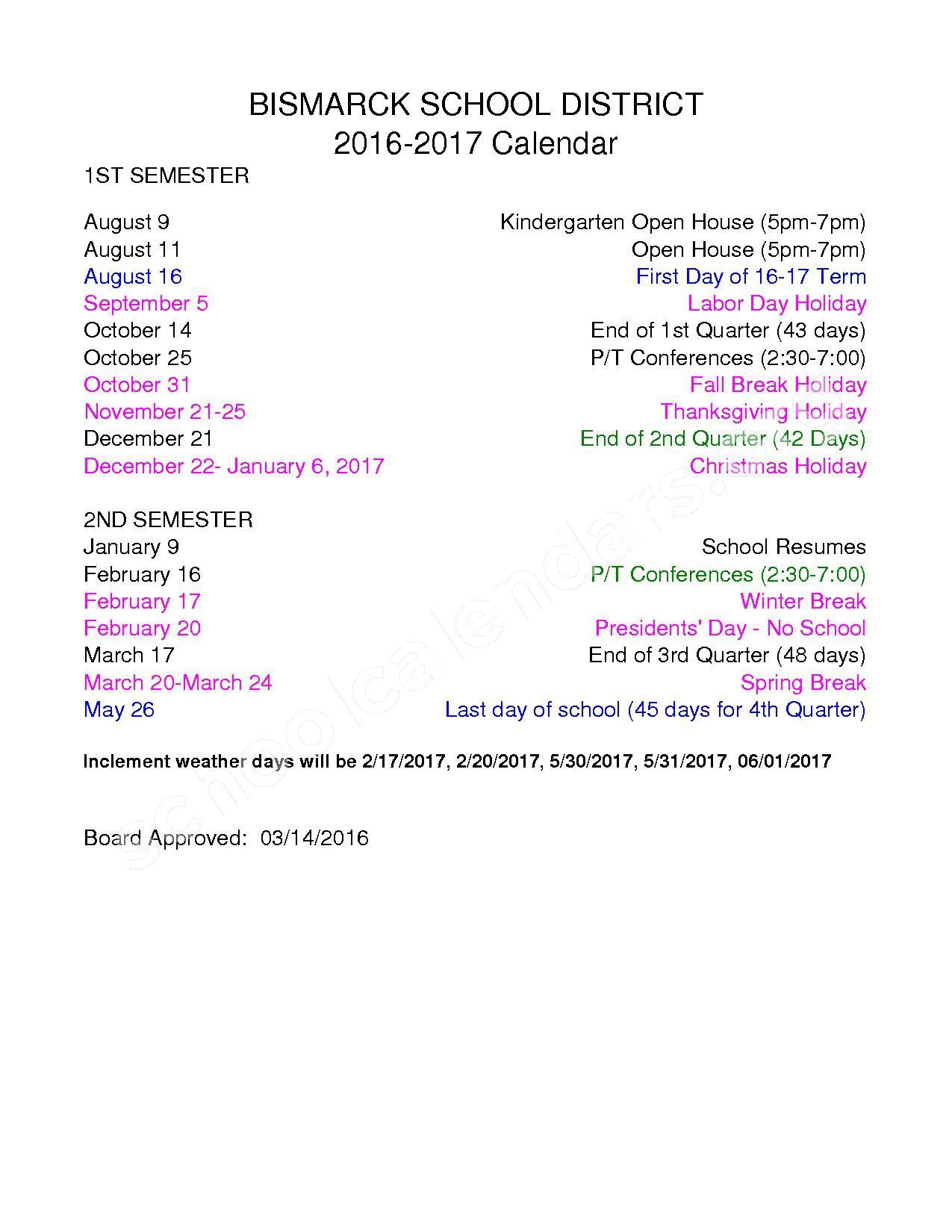 2016 - 2017 School Calendar – Bismarck School District – page 1