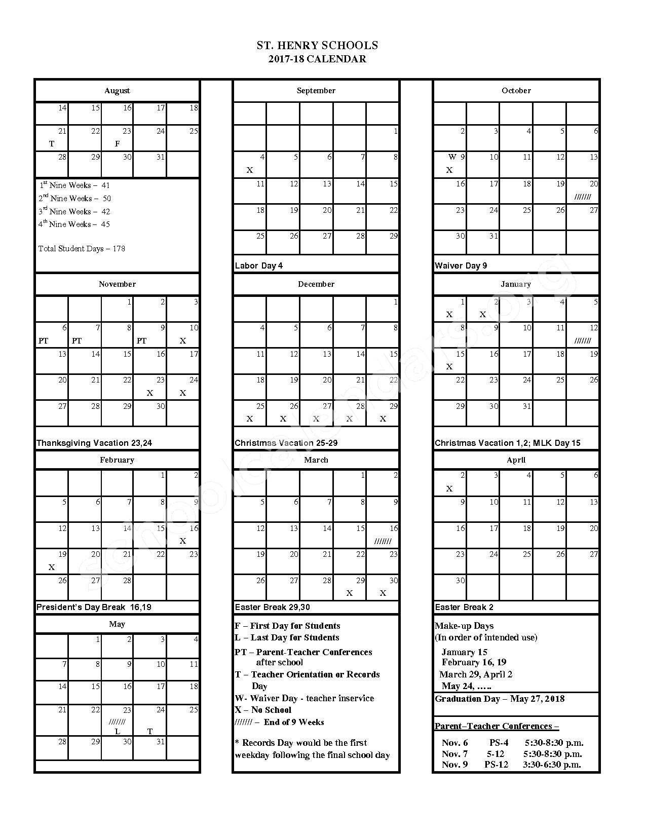 2017 - 2018 District Calendar – St. Henry Consolidated Local Schools – page 1
