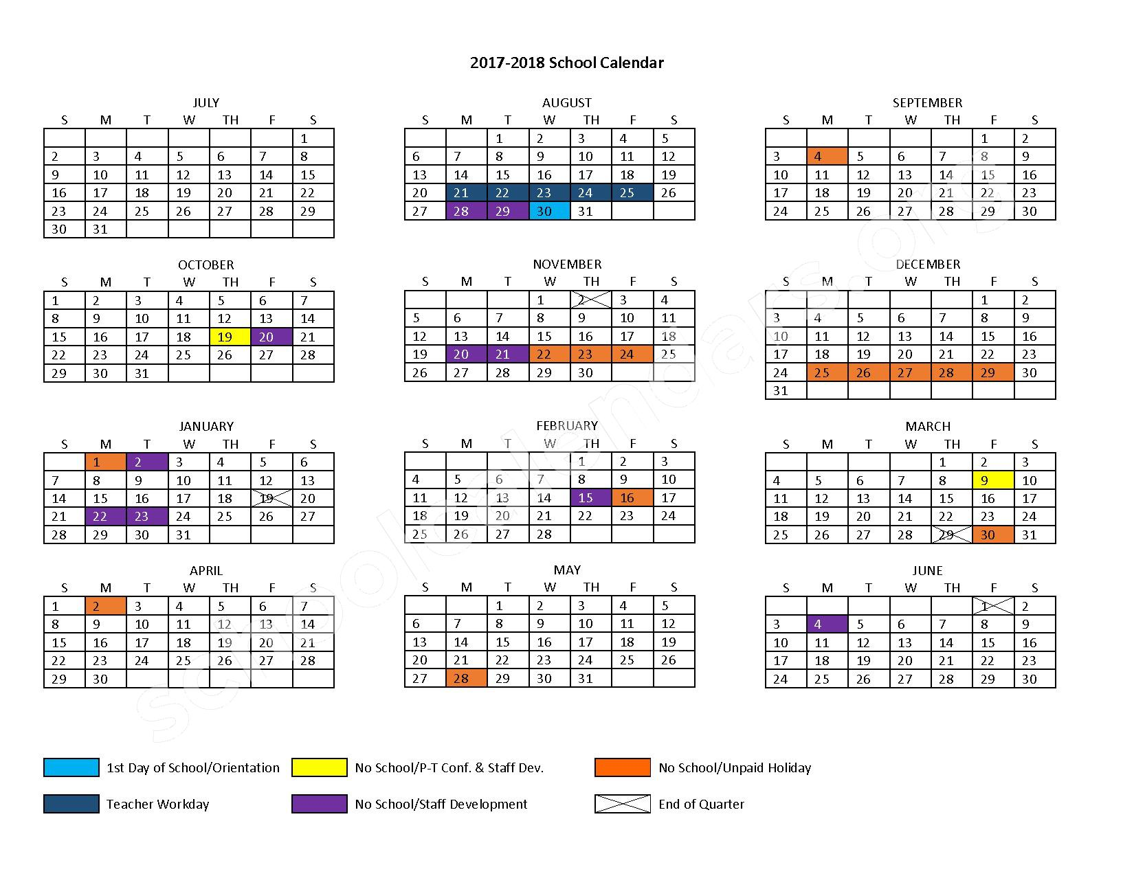 2017 - 2018 School Calendar – Durand School District – page 1