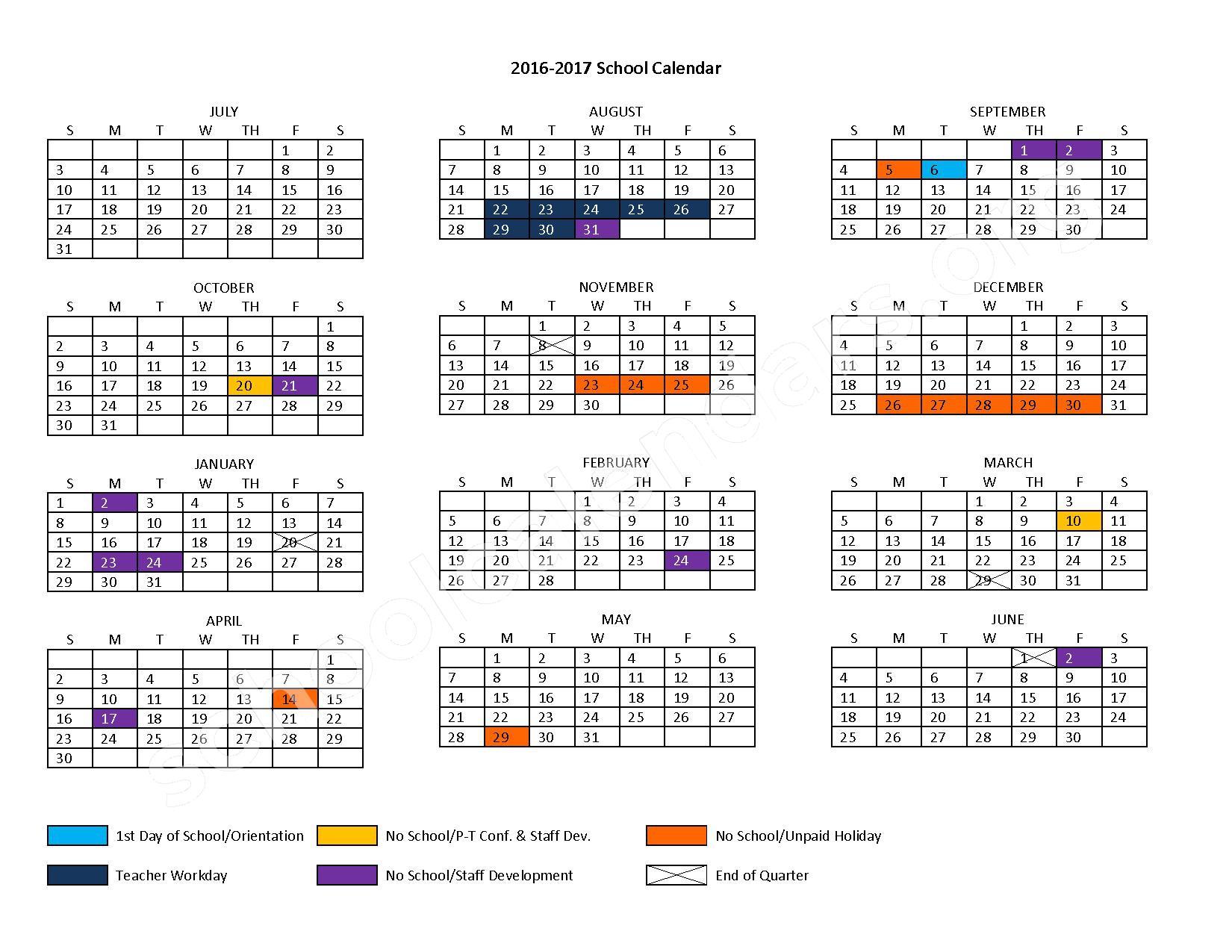 2016 - 2017 School Calendar – Durand School District – page 1