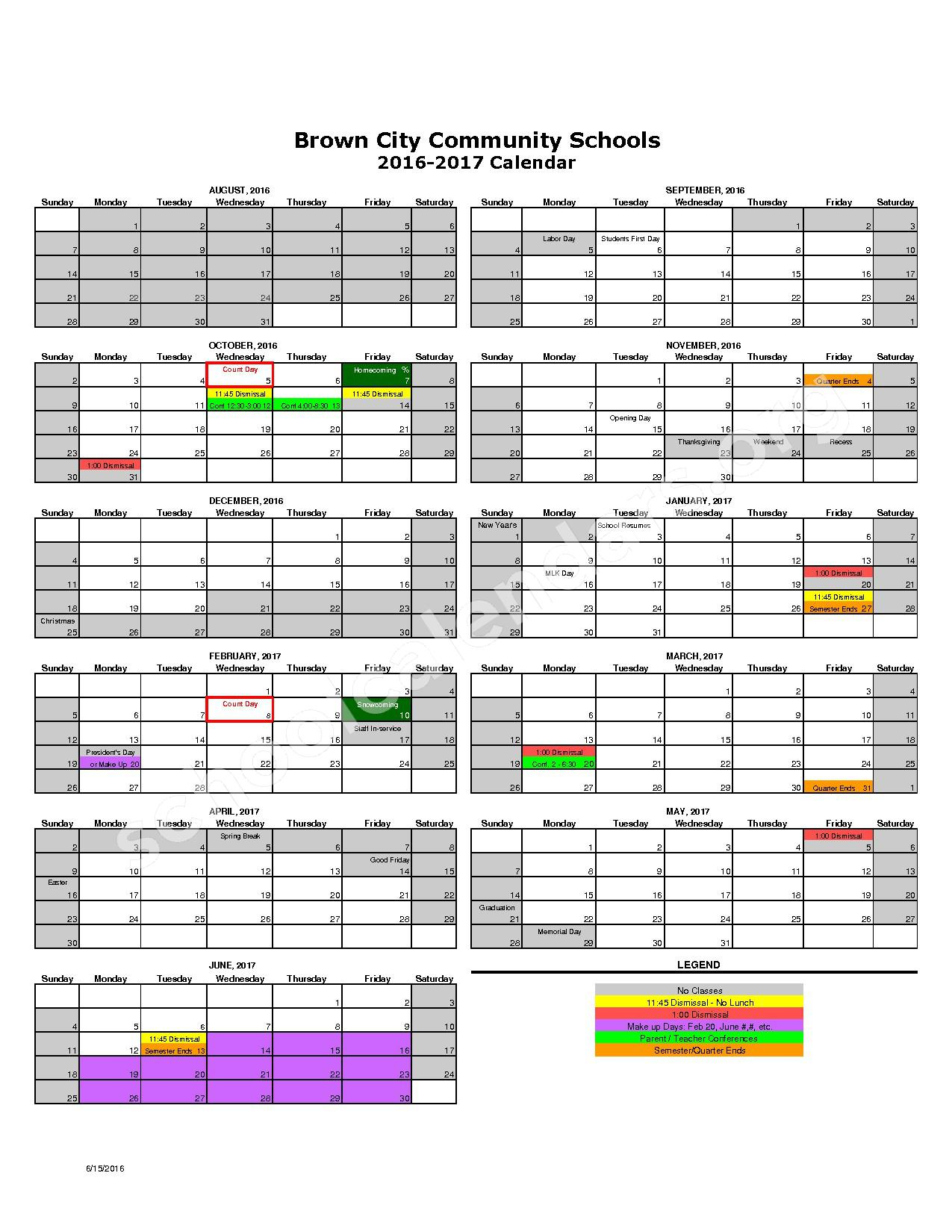 2016 - 2017 District Calendar – Brown City Alternative High School – page 1