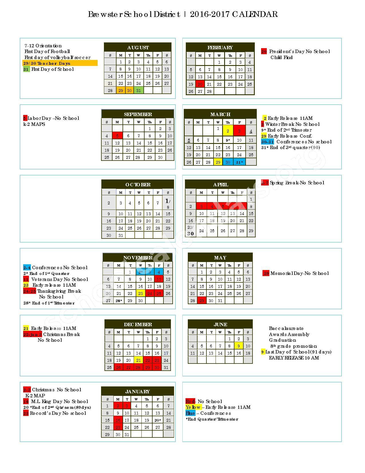 2016 - 2017 School Calendar – Brewster School District – page 1