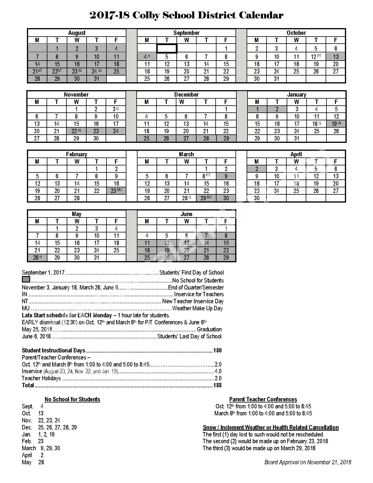 2017 - 2018 School Calendar – Colby School District – page 1