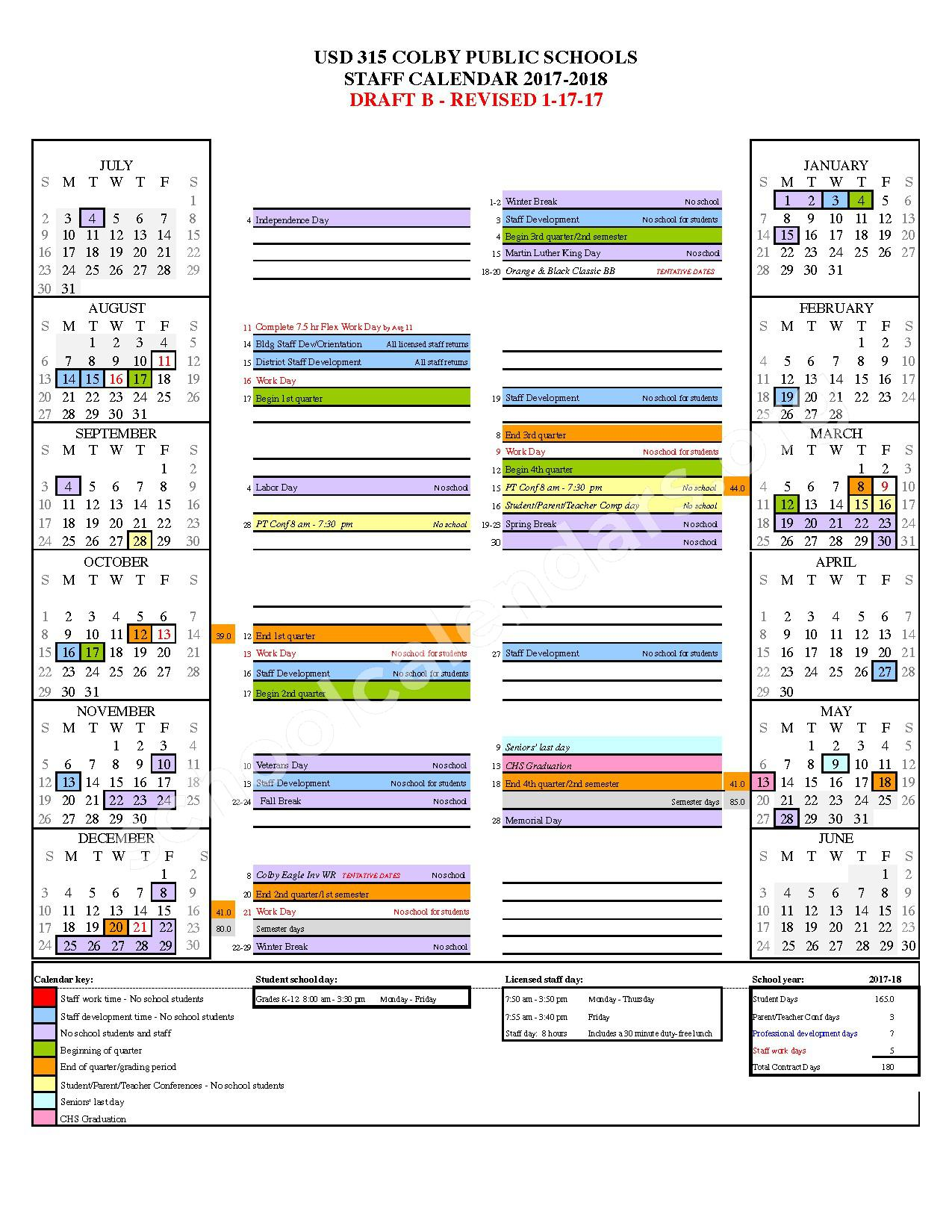 2017 - 2018 District Calendar – Colby Public Schools – page 1