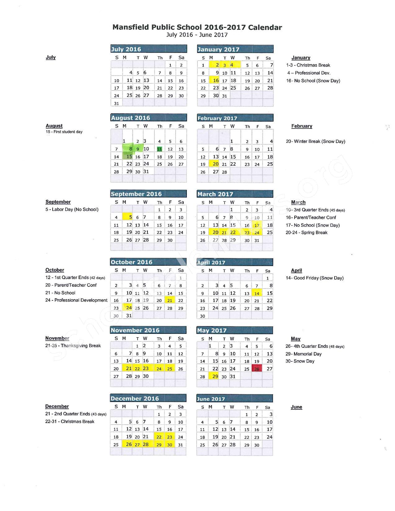 2016 - 2017 School Calendar – Mansfield School District – page 1