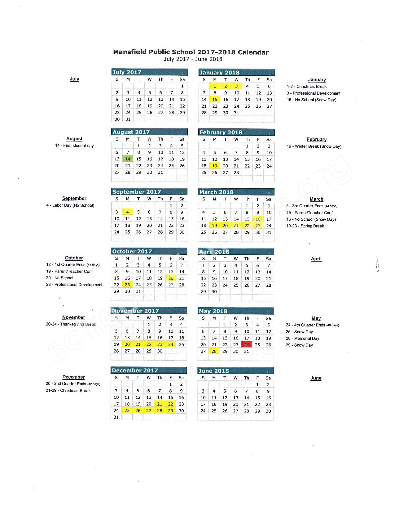 2017 - 2018 School Calendar – Mansfield School District – page 1
