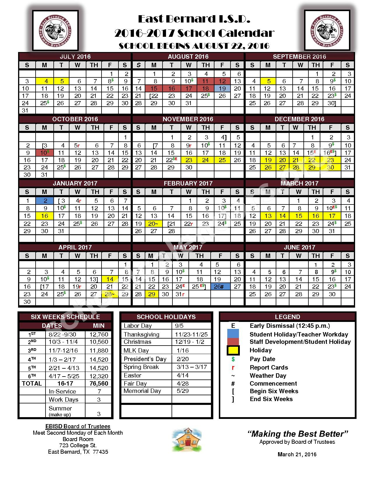 2016 - 2017 School Calendar – East Bernard Independent School District – page 1