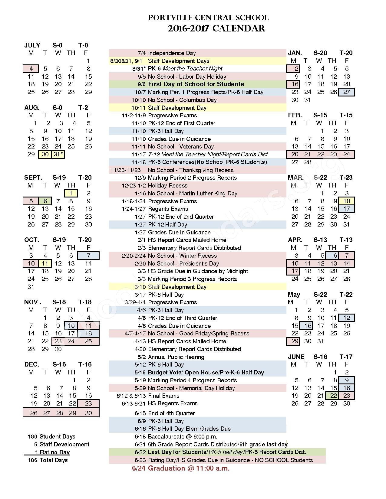2016 - 2017 School Calendar – Portville Junior / Senior High School – page 1
