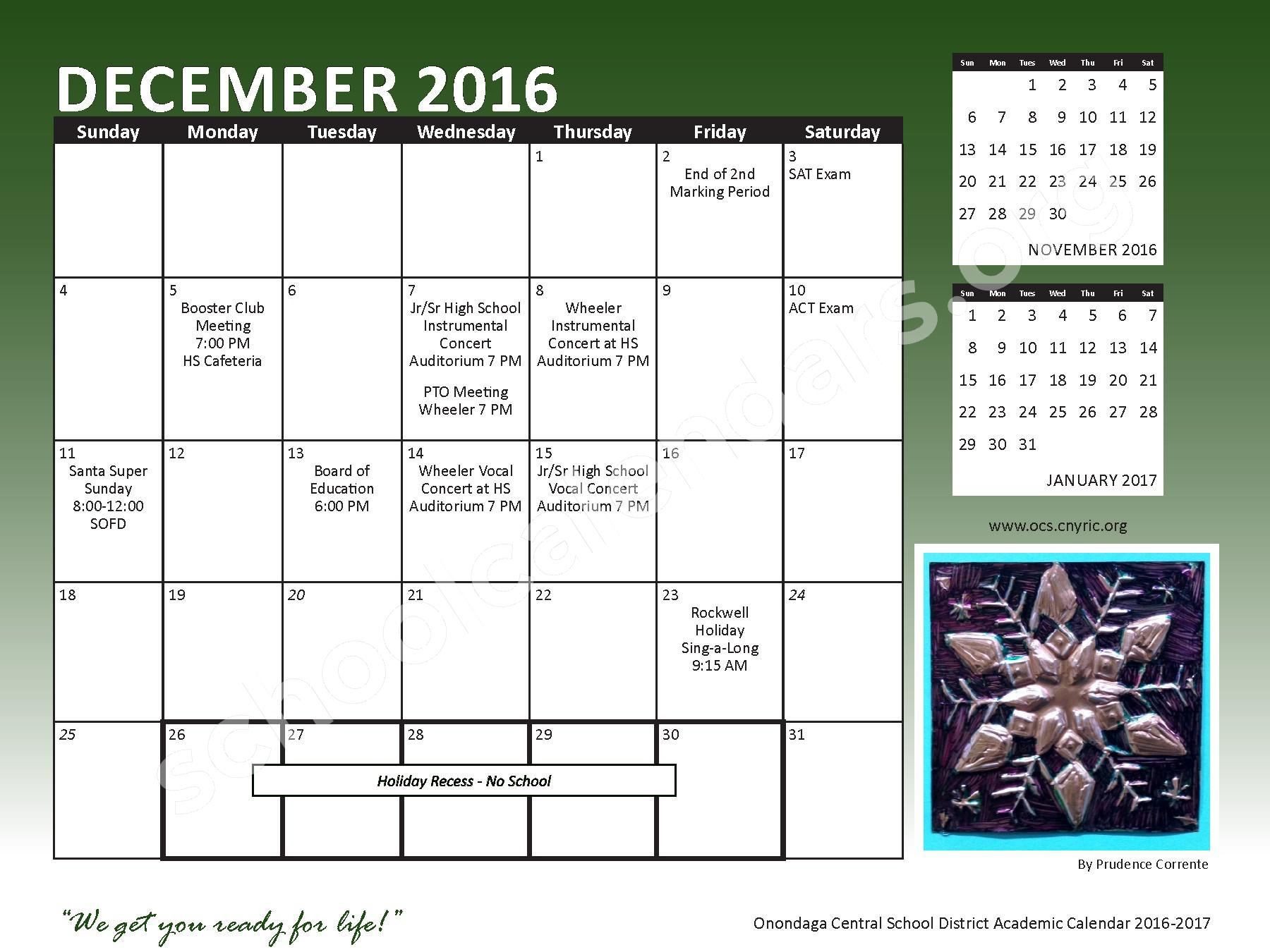2016 - 2017 School Calendar – Onondaga Central School District – page 11