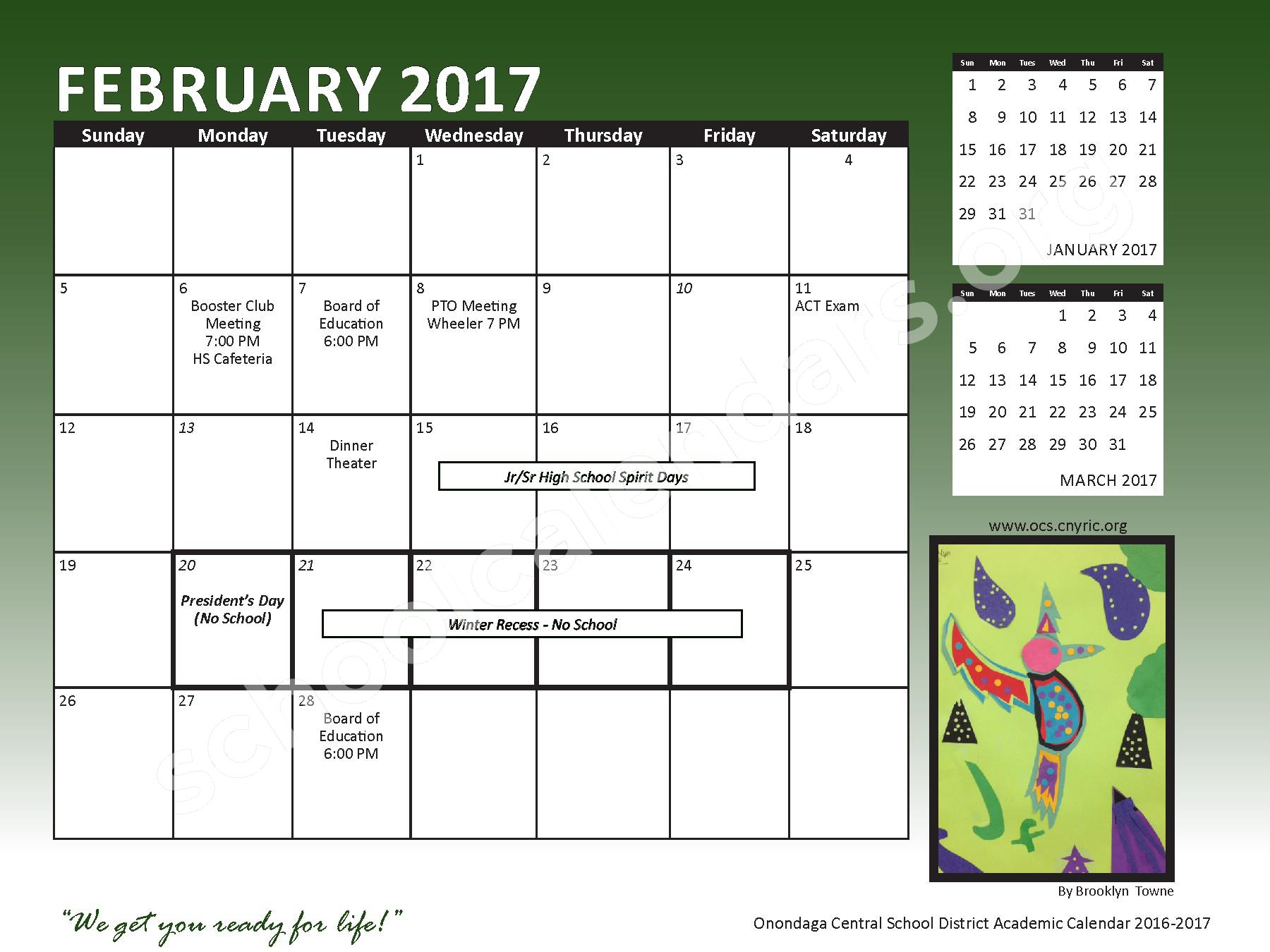 2016 - 2017 School Calendar – Onondaga Central School District – page 15
